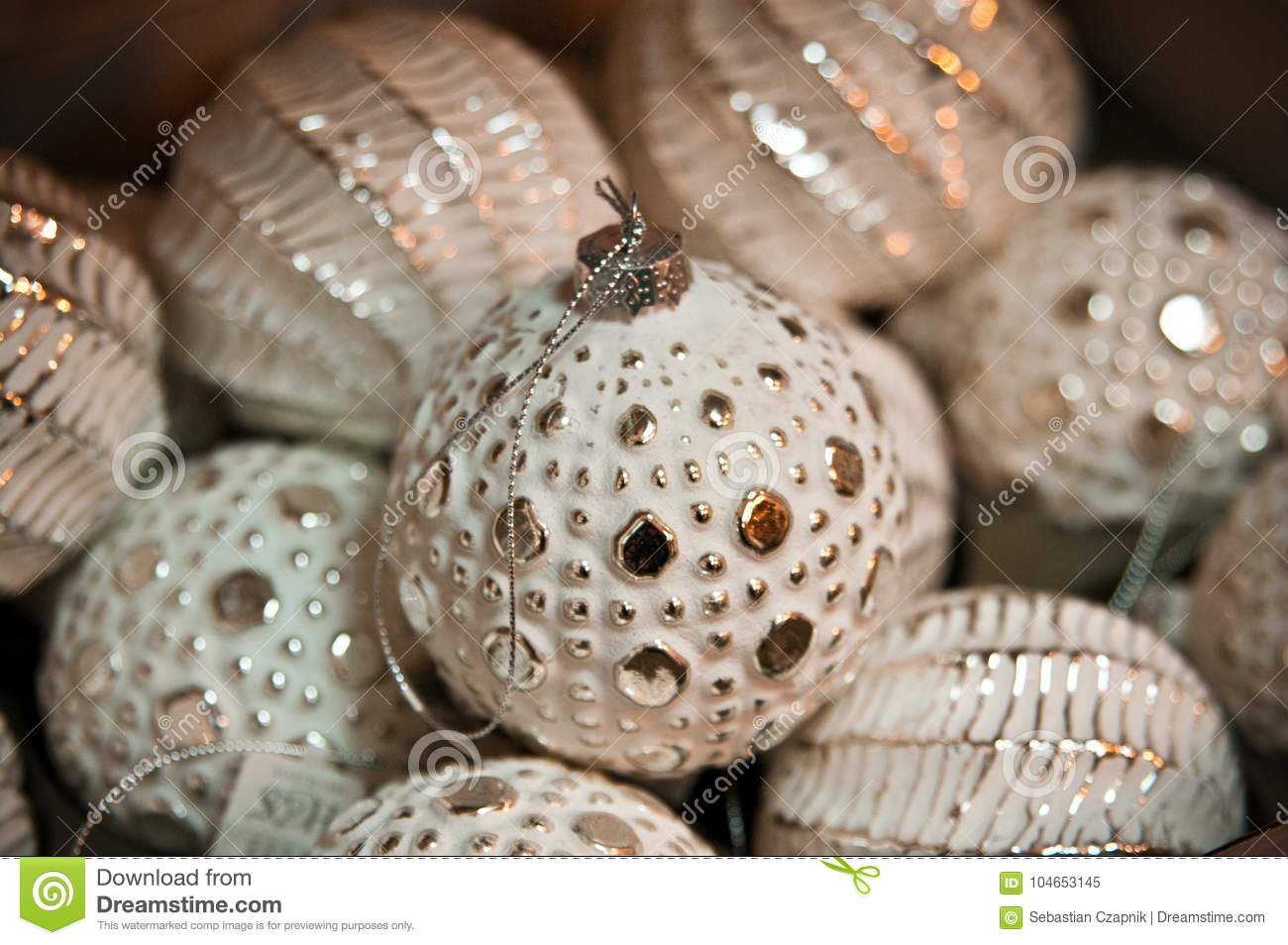 rustic white and golden christmas baubles - Rustic Elegant Christmas Decor