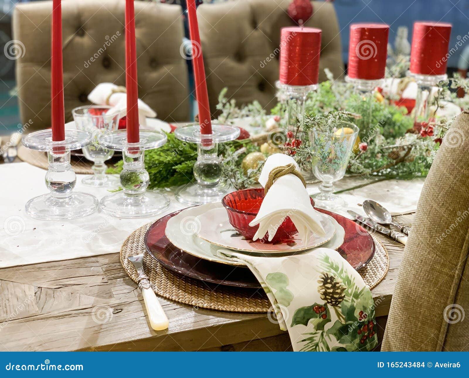 Elegant Christmas Dinner Table Decoration Stock Photo Image Of Table Napkin 165243484