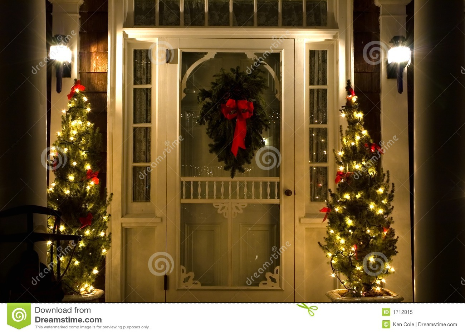 Elegant Christmas Doorway At Night Stock Image Image Of
