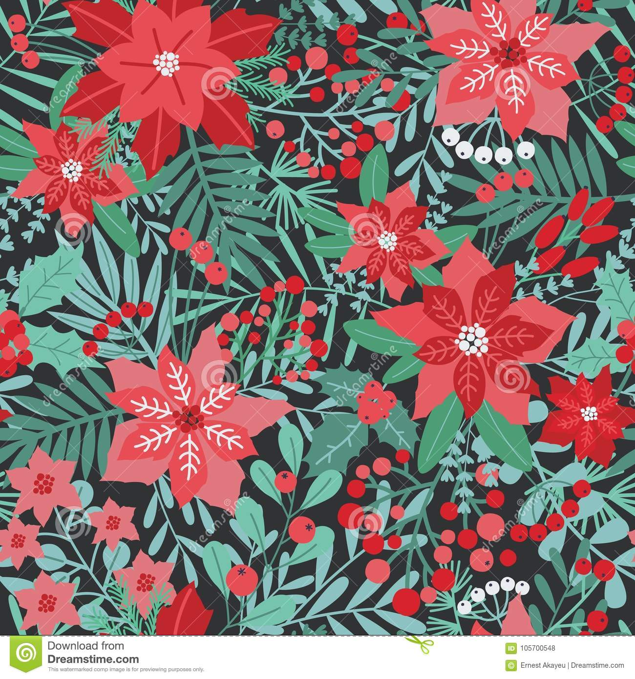 Elegant Christmas festive seamless pattern with green and red traditional holiday natural decorations on dark background