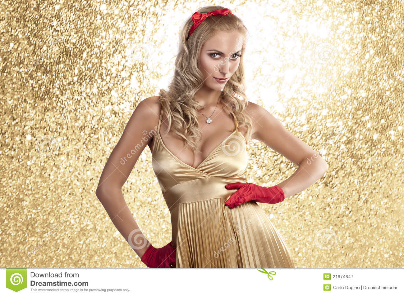 Elegant Christmas Girl In A Champagne Color Dress Royalty
