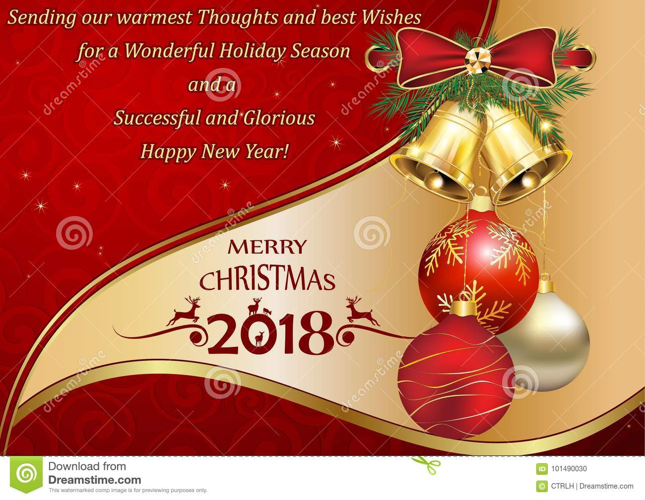 christmas new year 2018 greeting card