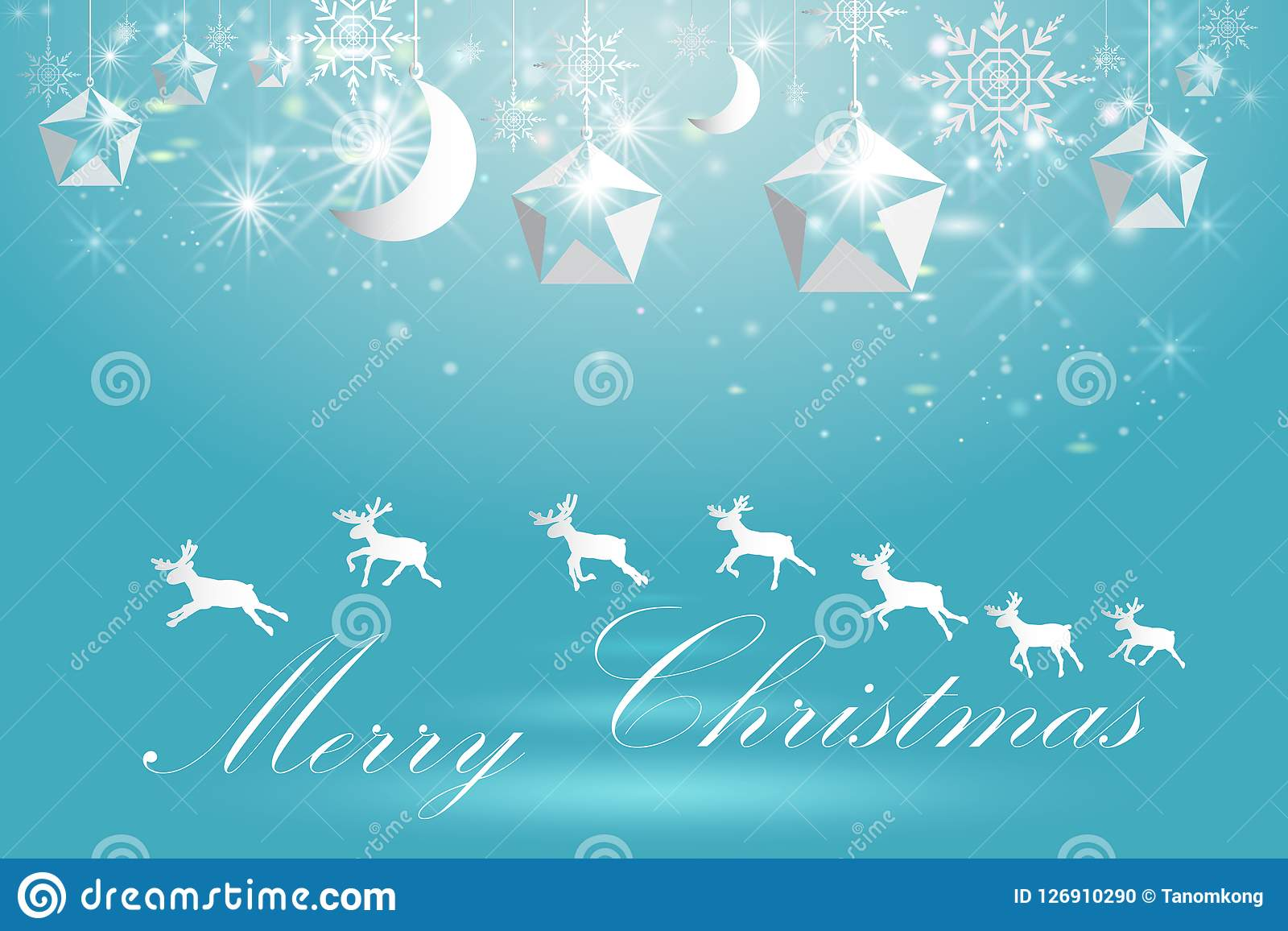 elegant christmas poster template with snowflakes and deer stock