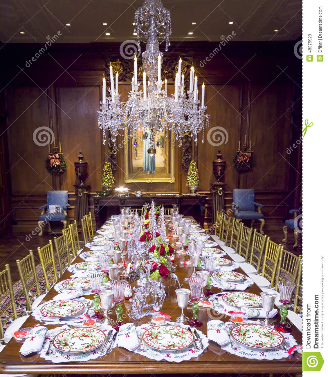 Elegant Christmas Table Setting Stock Image Image 48375929