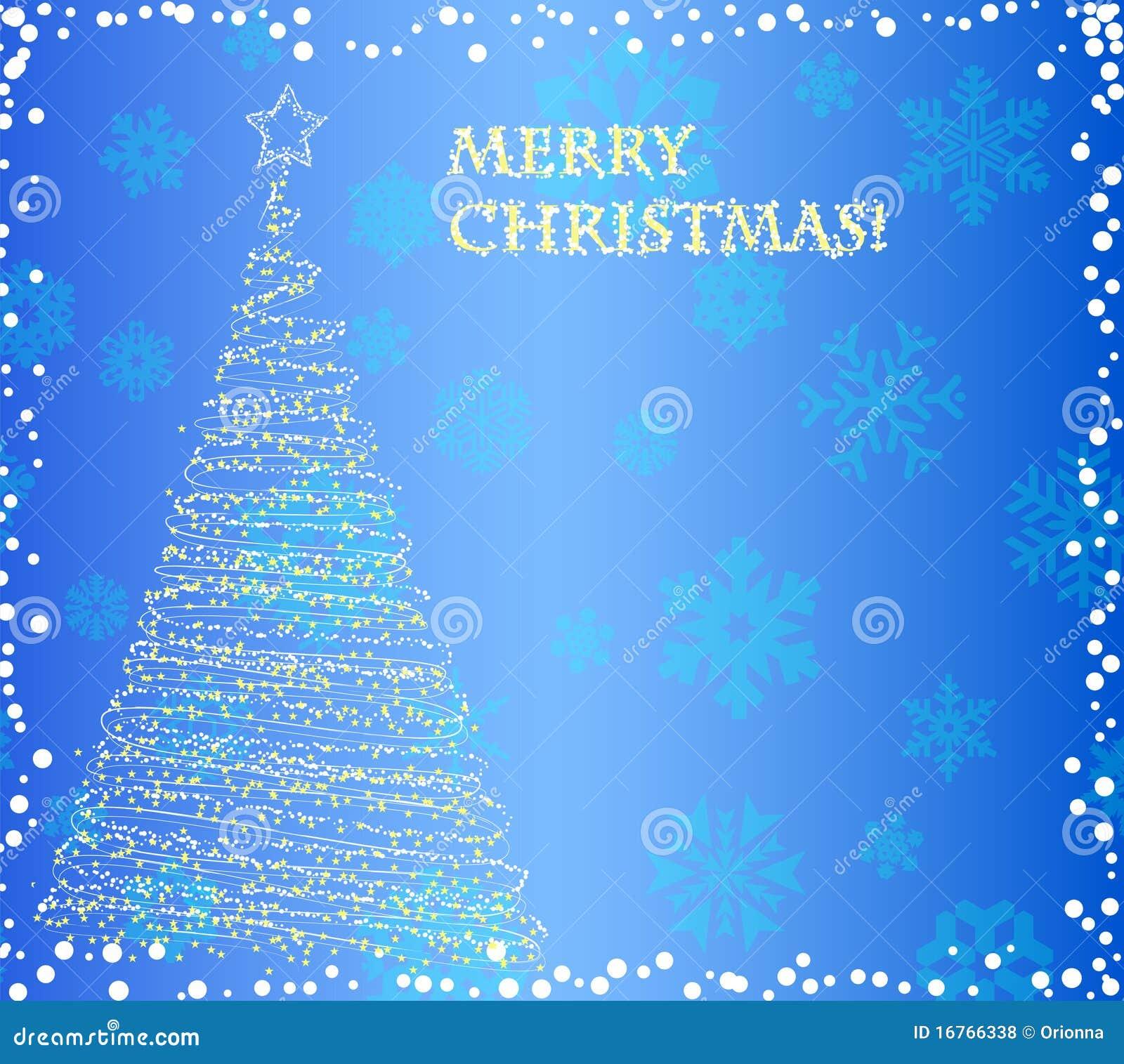 Beautiful Elegant Christmas Tree On The Blue Background