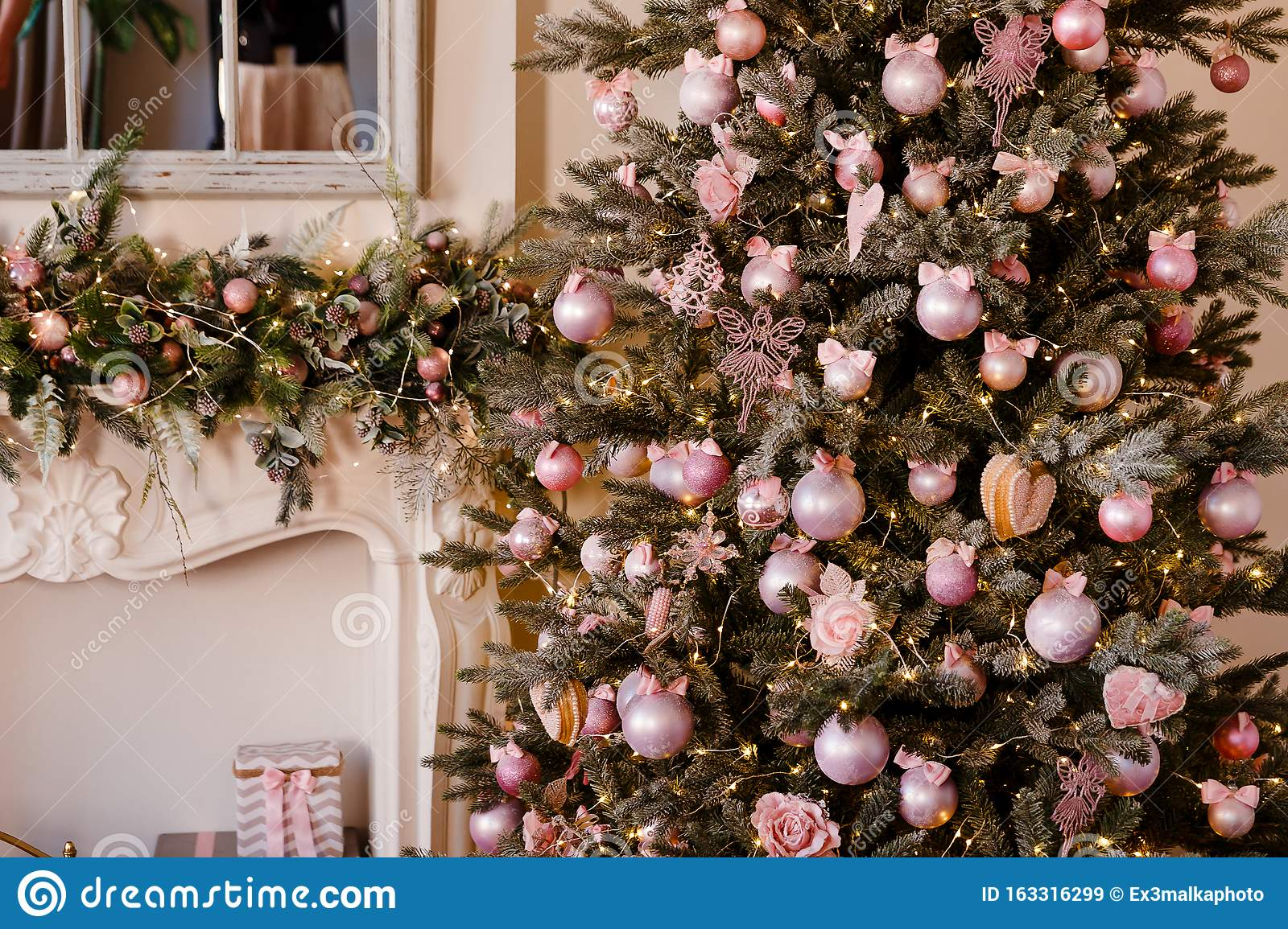 Elegant Christmas Tree Decorated With Pink Pearl Balls Stock Image Image Of Background Festive 163316299