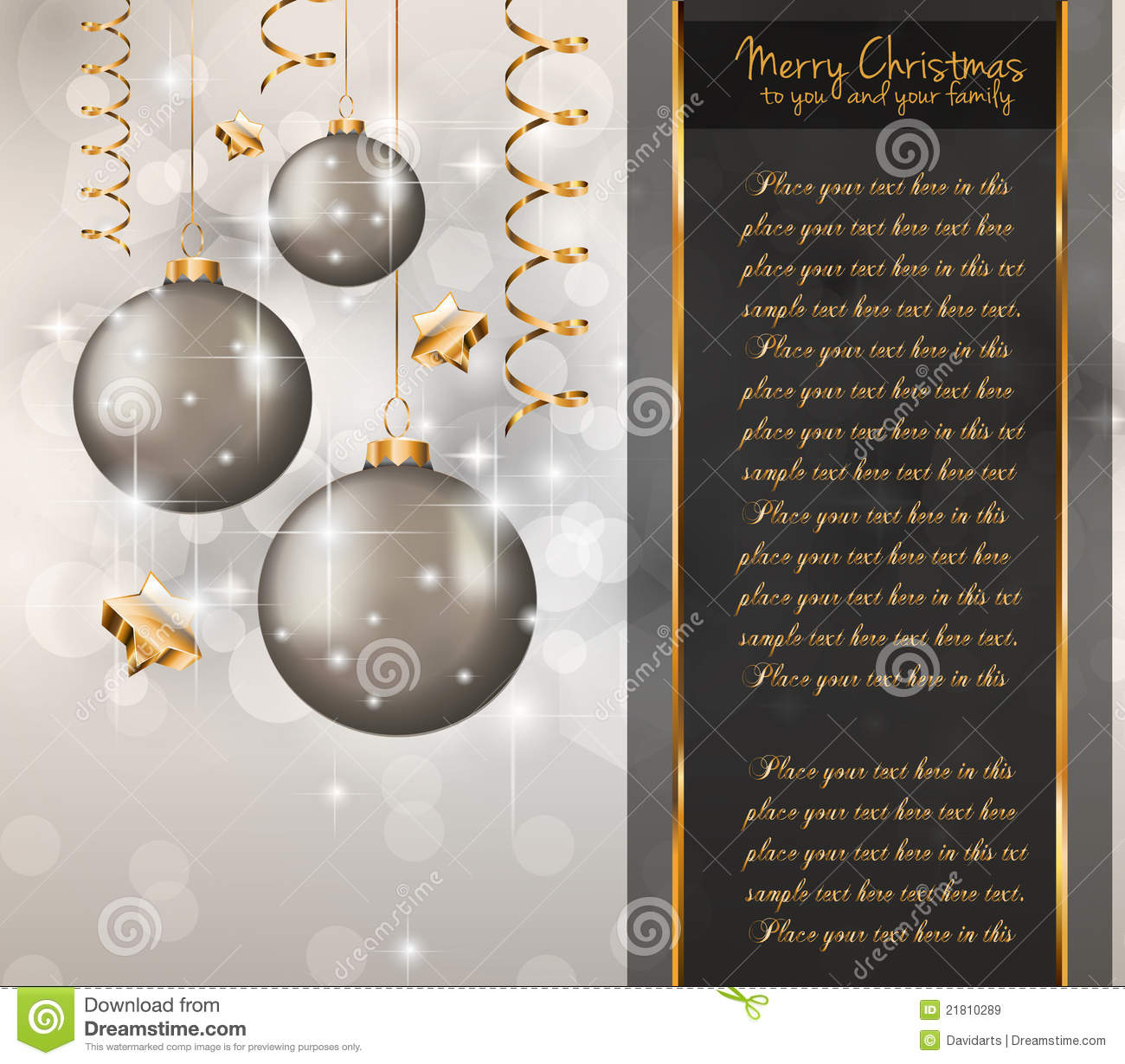 Elegant Classic Christmas Greetings Royalty Free Stock