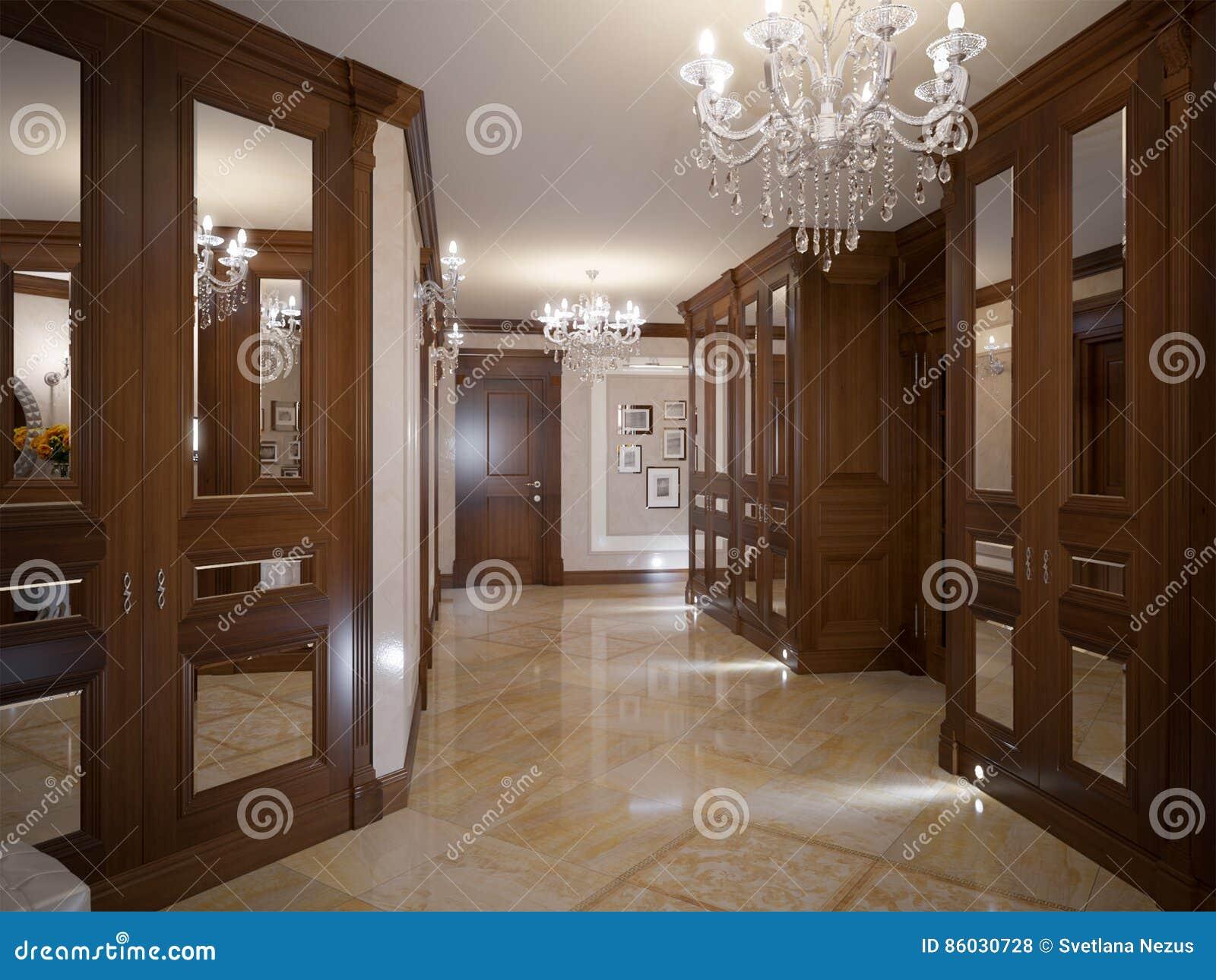Elegant classic and luxurious hall interior design stock for Interior design beige