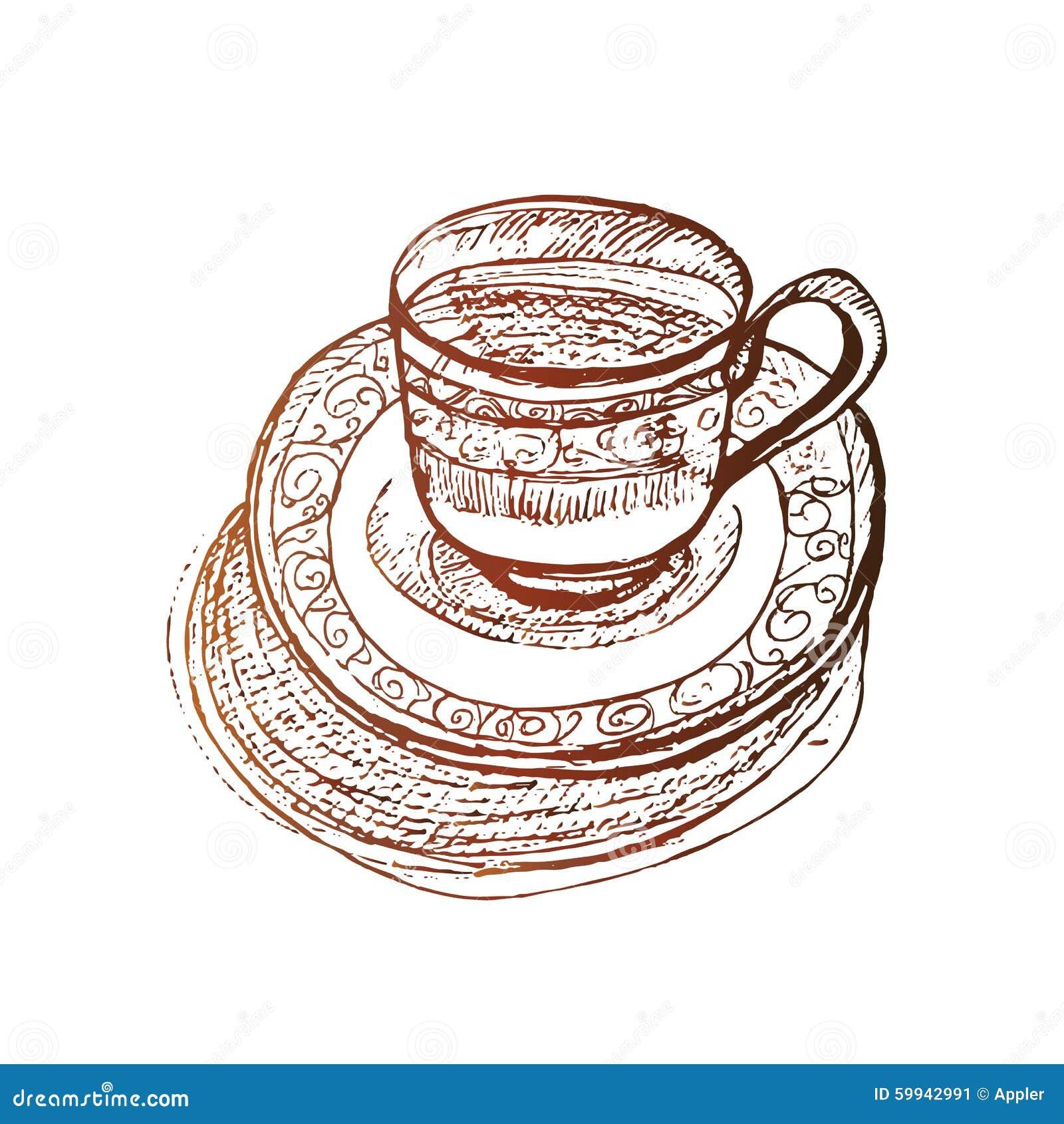 Elegant Coffee Cup At Saucer Vector Sketch Stock Vector Illustration Of Clip Cartoon 59942991