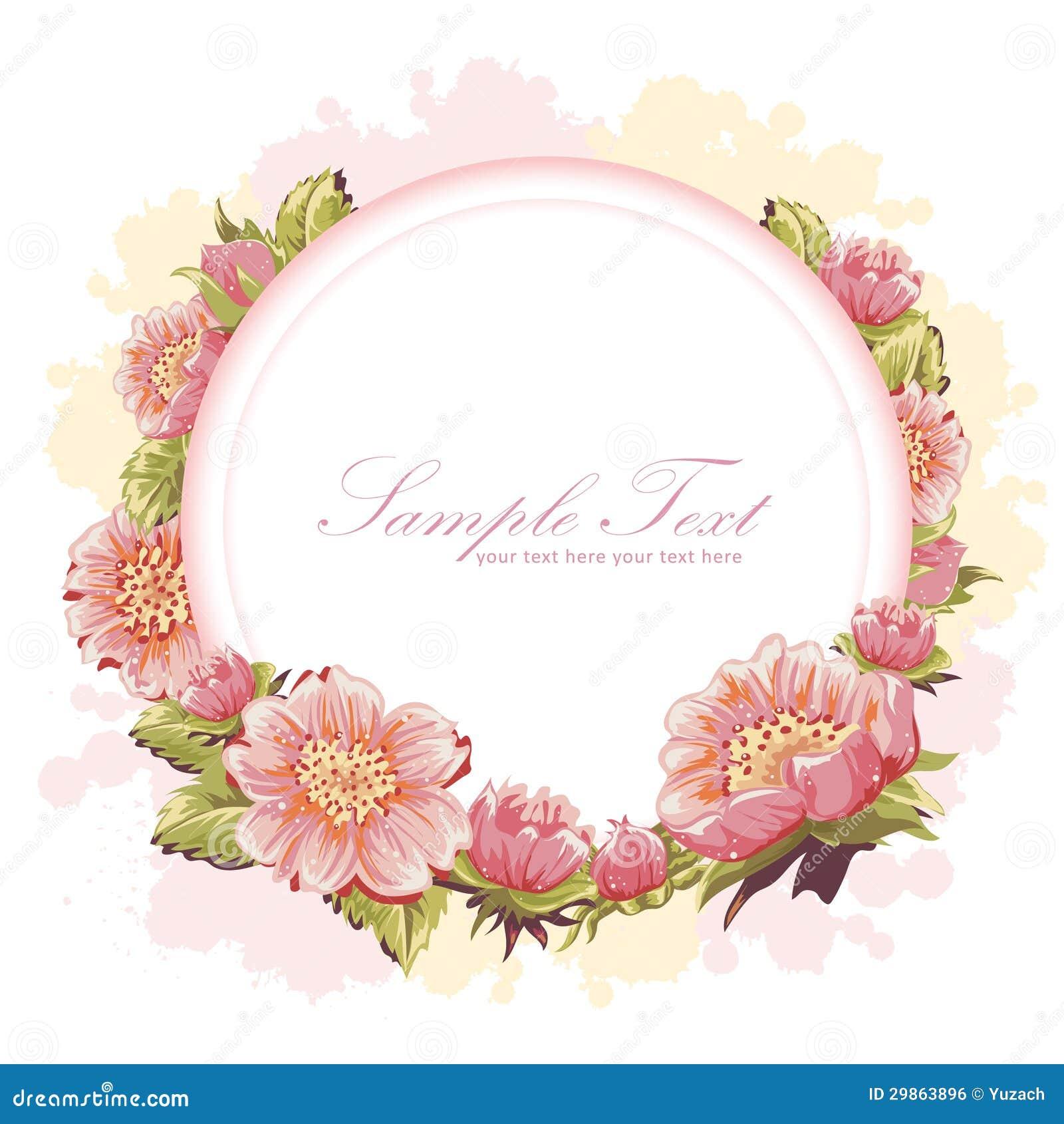 Elegant Flower Invitation Postcard Royalty Free Stock Image