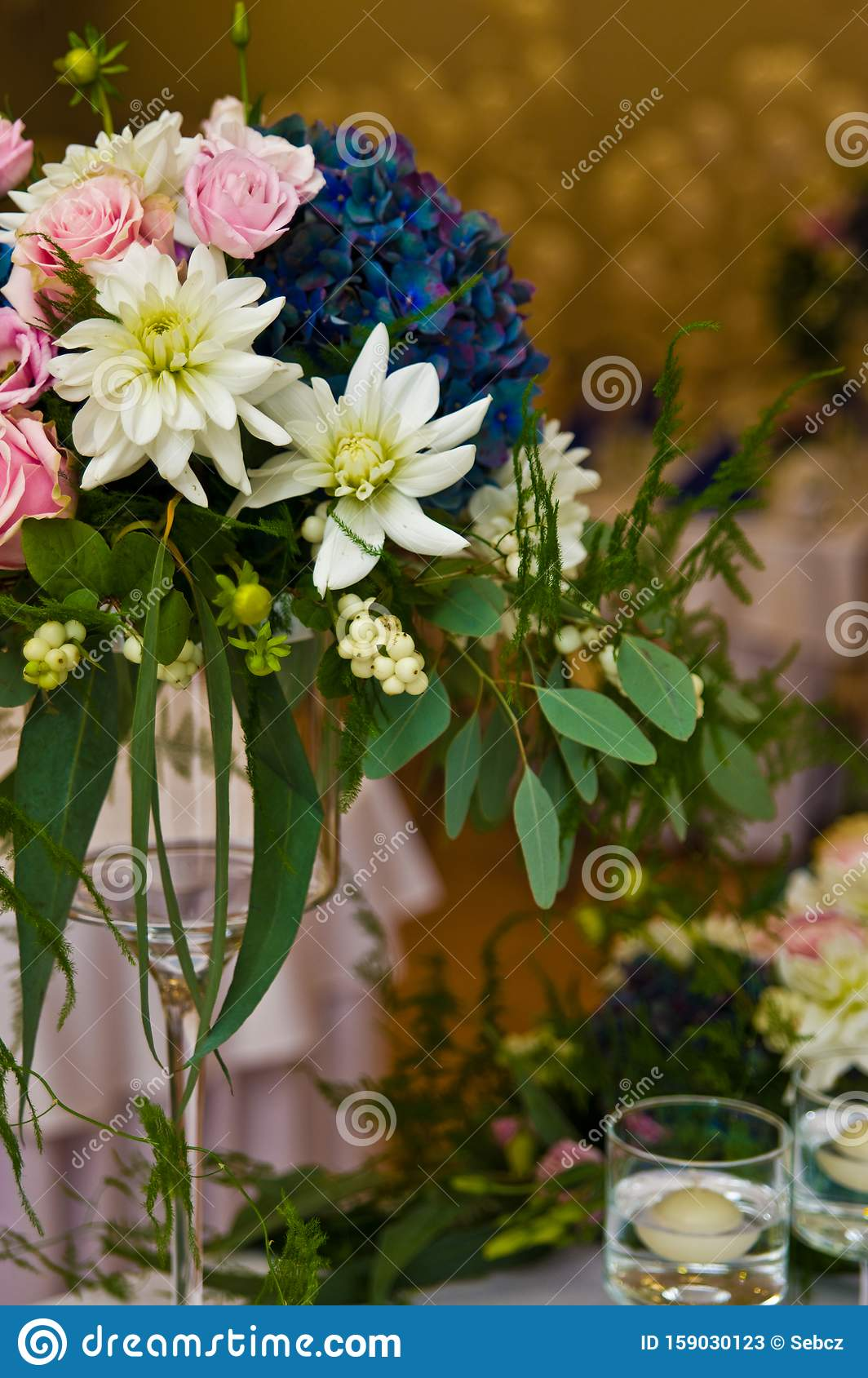 Wedding Hall Table Flowers Decoration Detail Stock Image Image Of Ballroom Flower 159030123