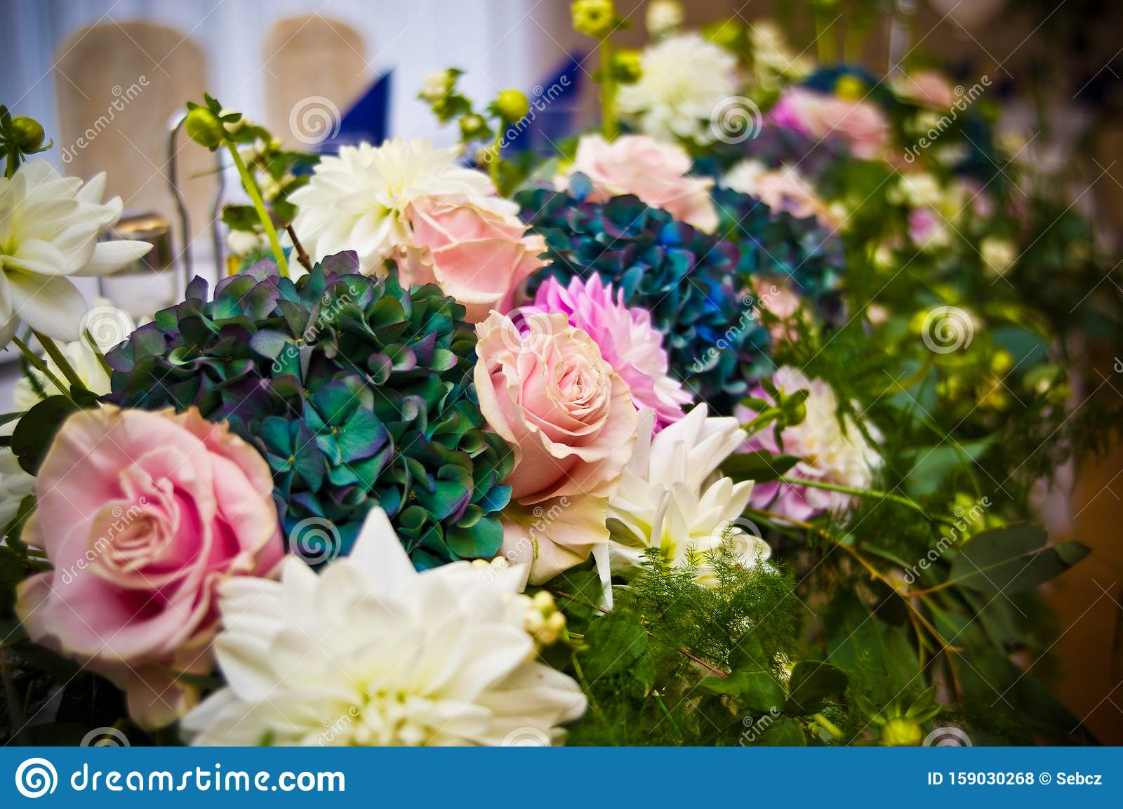 Wedding Hall Table Flowers Decoration Detail Stock Photo Image Of Decorative Saturated 159030268