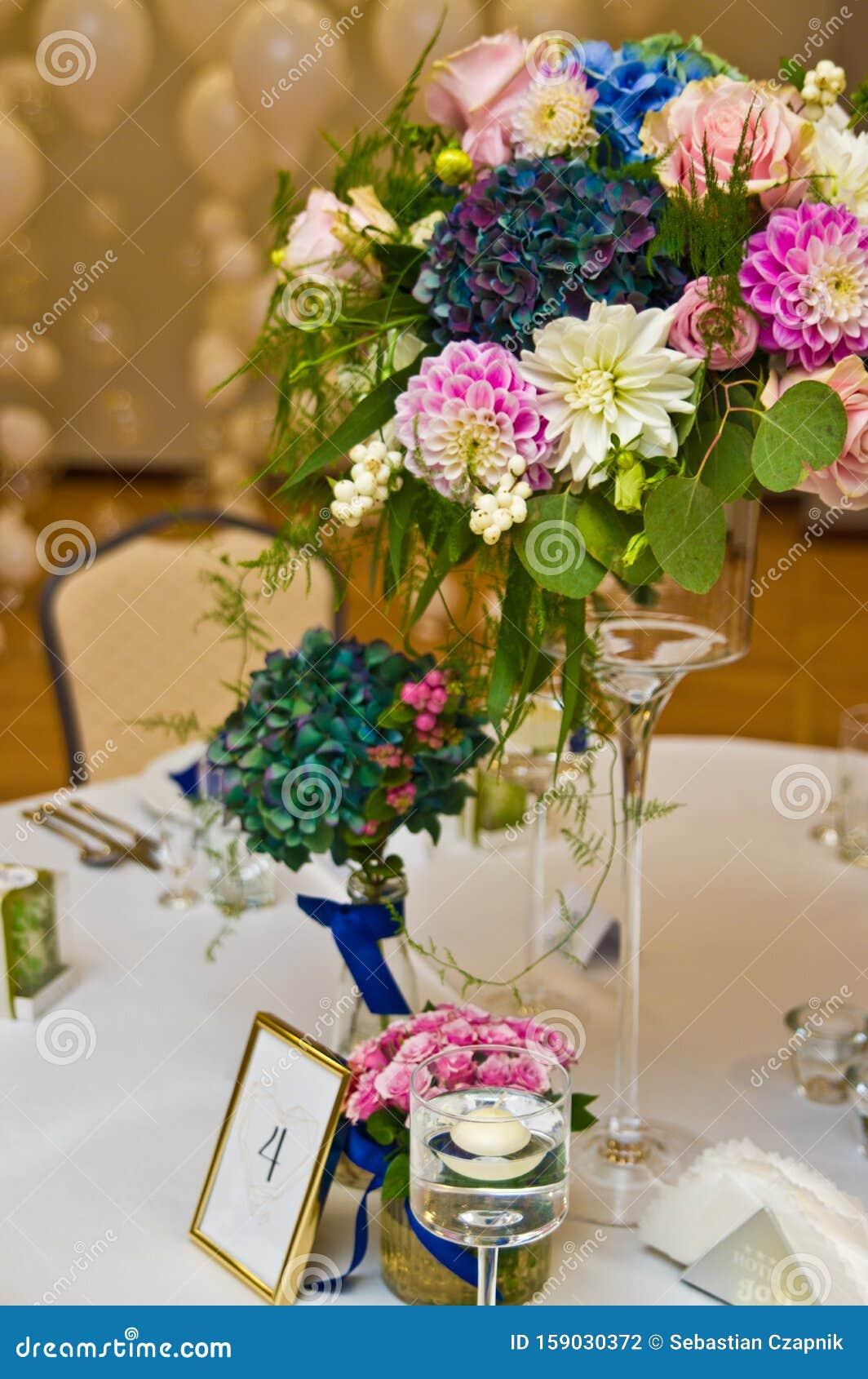 Wedding Hall Table Flowers Decoration Detail Stock Photo Image Of Ballroom Hall 159030372