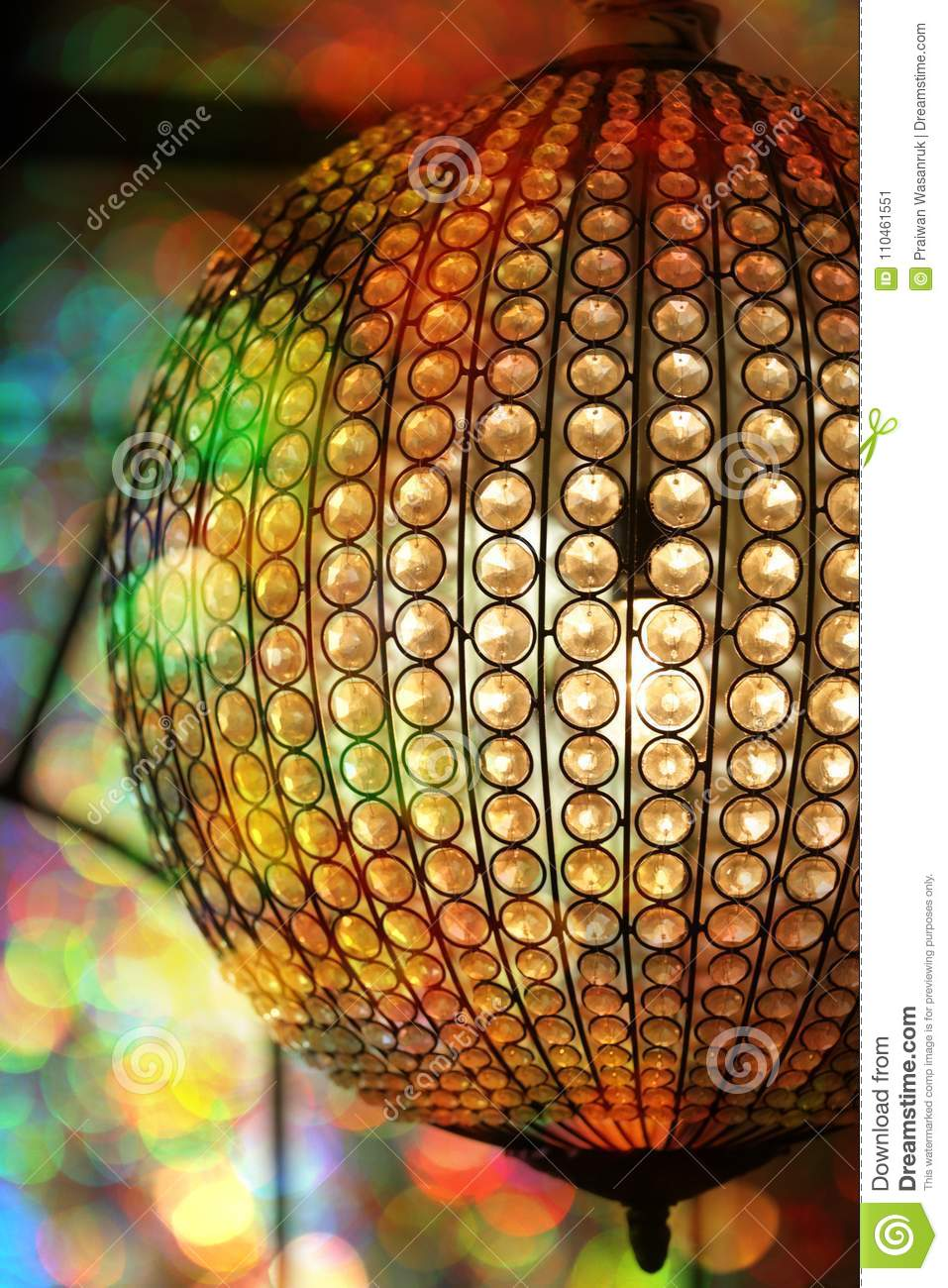 Elegant Crystal Ball Chandelier Stock Image Image Of Creative Green 110461551