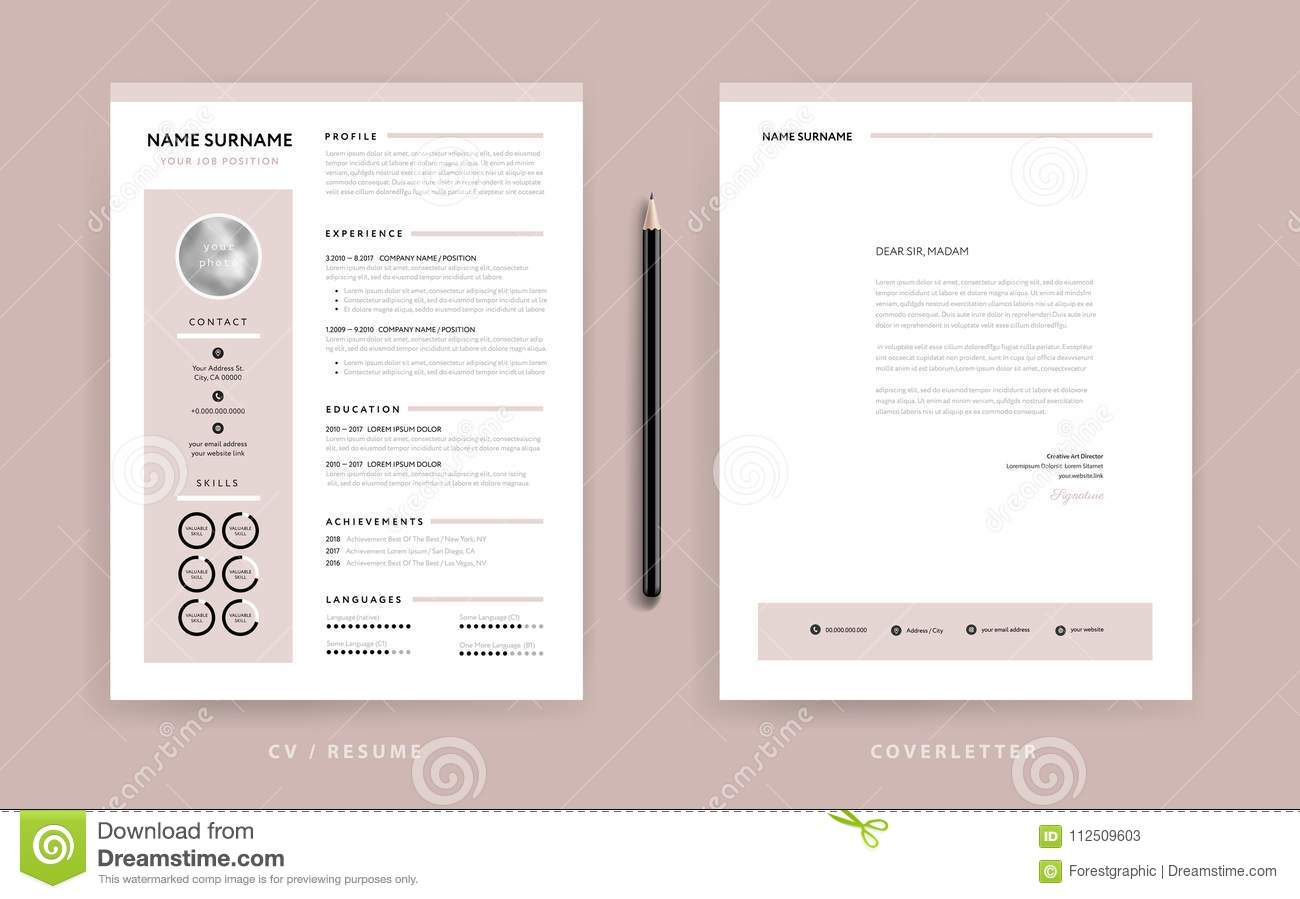 Elegant CV / Resume And Cover Letter Template - Dusty Rose ...