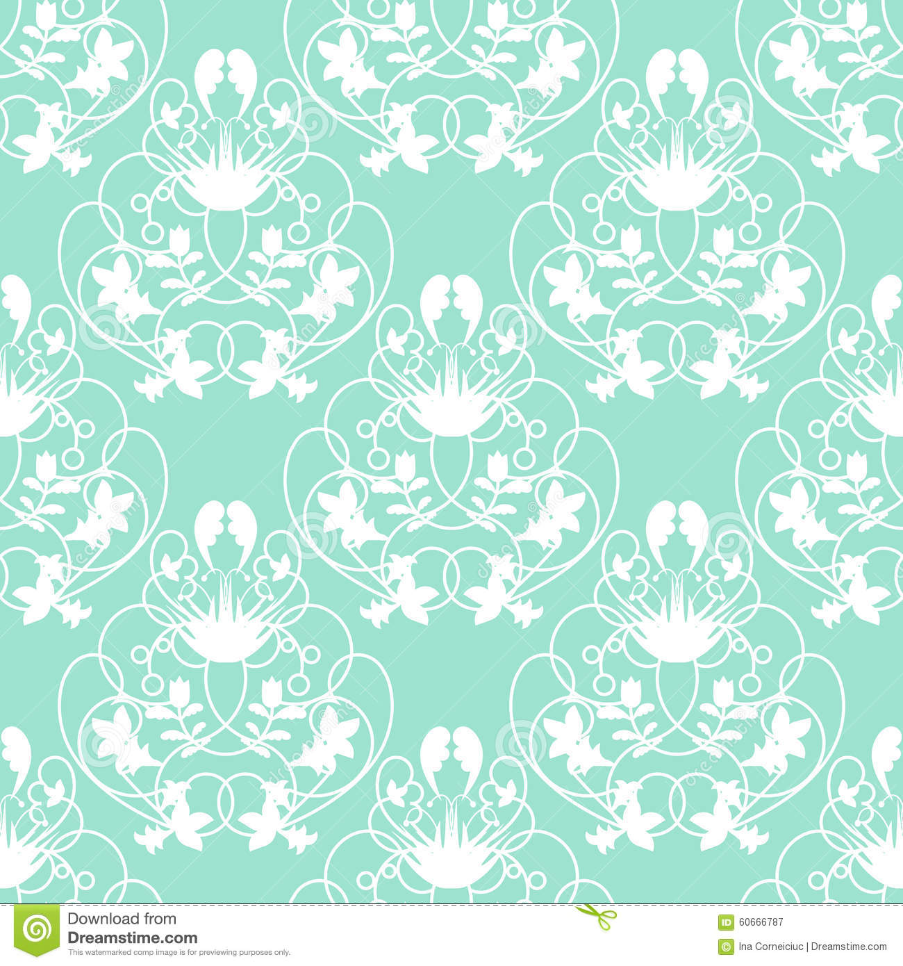 Elegant Damask Mint Seamless Vector Background With Delicate Swirl