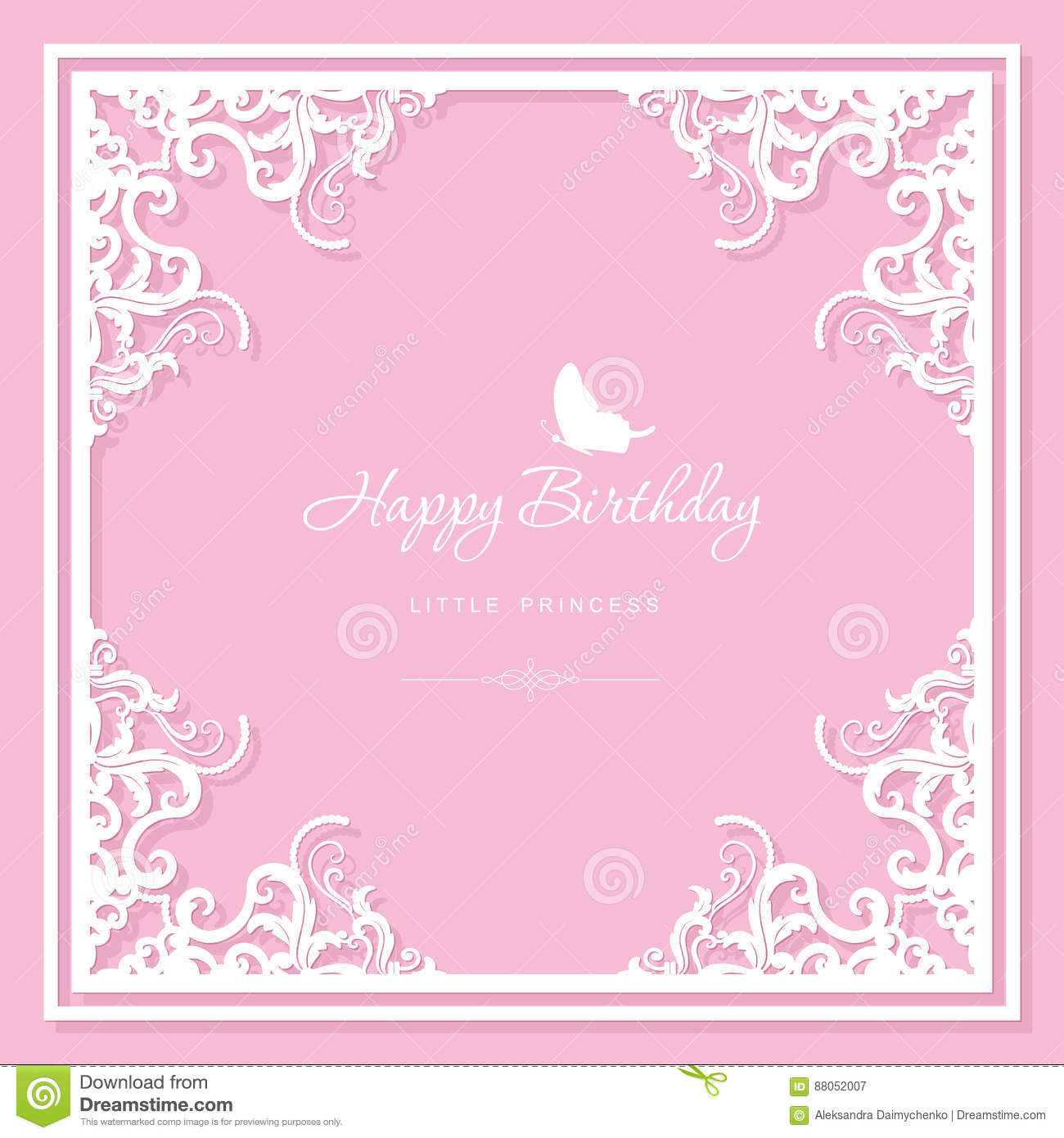birthday greeting card template filigree laser cutting design for wedding