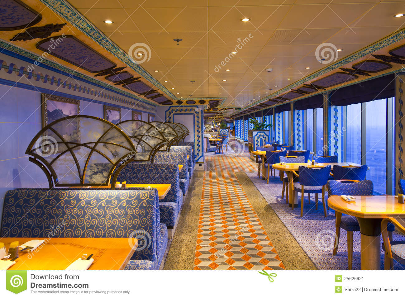 An Elegant Deluxe Dining Hall In Cruise Ship Stock Image