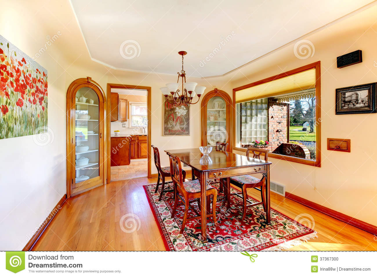 Elegant Dining Room With Rustic Table Set Stock Photo Image Of Real Idea 37367300