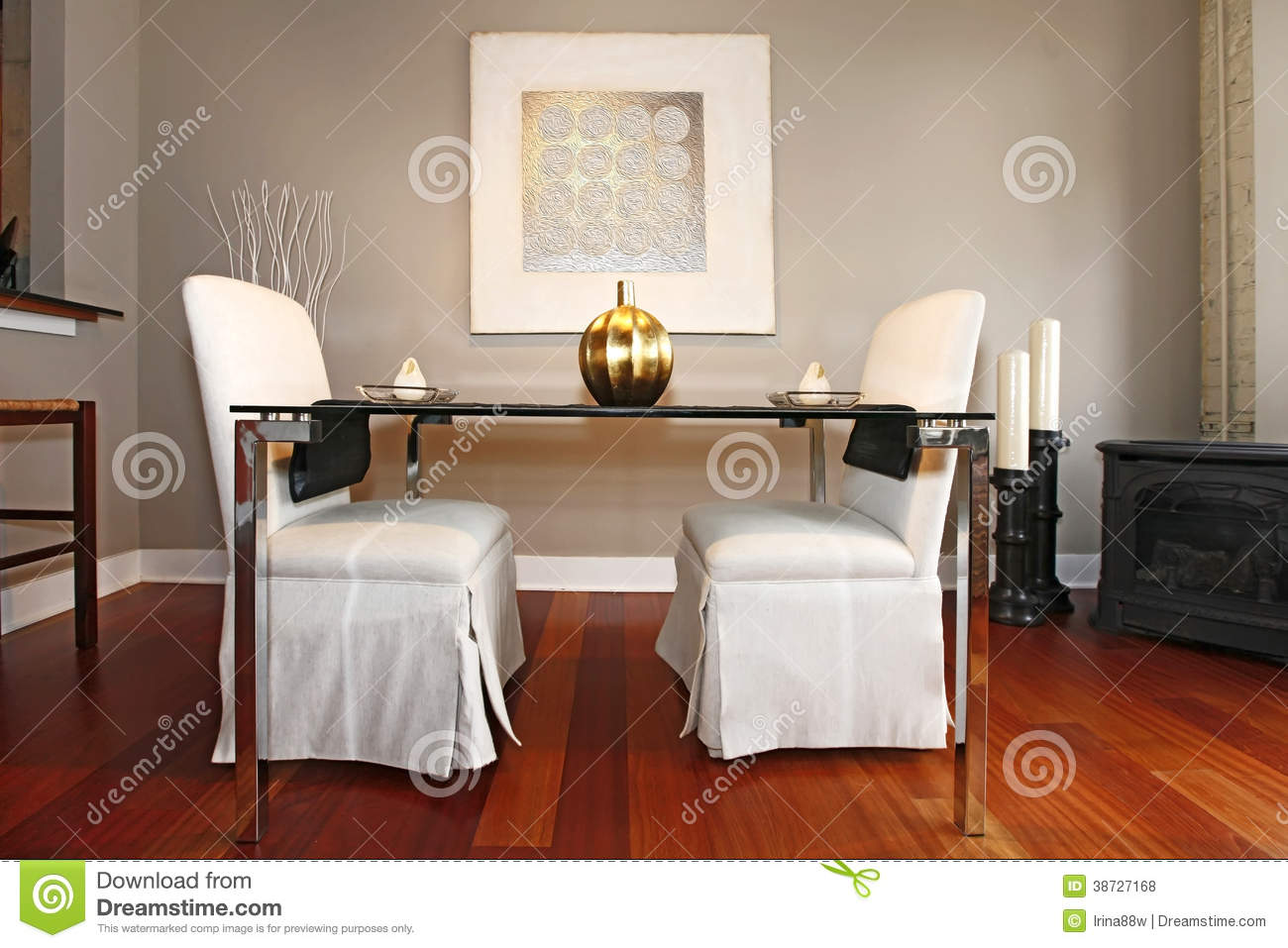 Elegant Glass Table With White Luxury Chairs In Modern Reconstructed