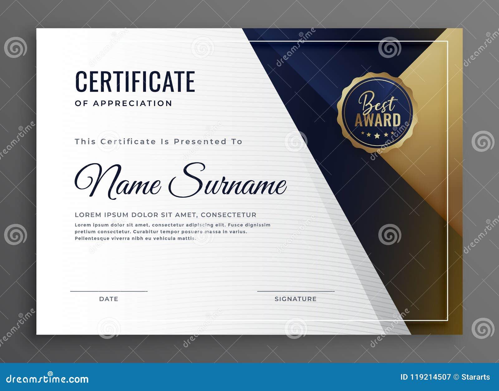 Elegant Diploma Certificate Of Achievement Template Design Stock