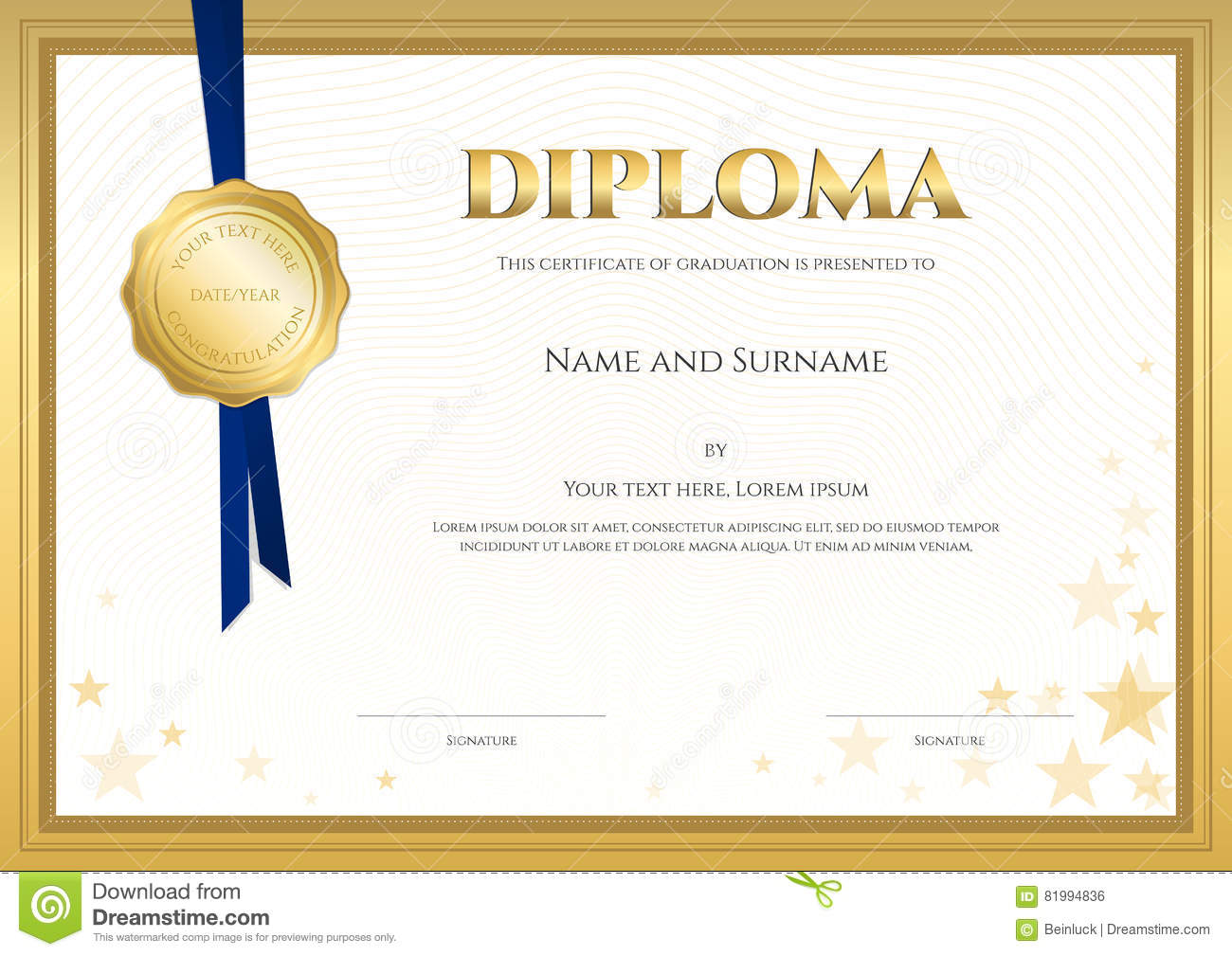 Elegant diploma certificate template for completion stock vector royalty free vector download elegant diploma certificate template yelopaper Choice Image