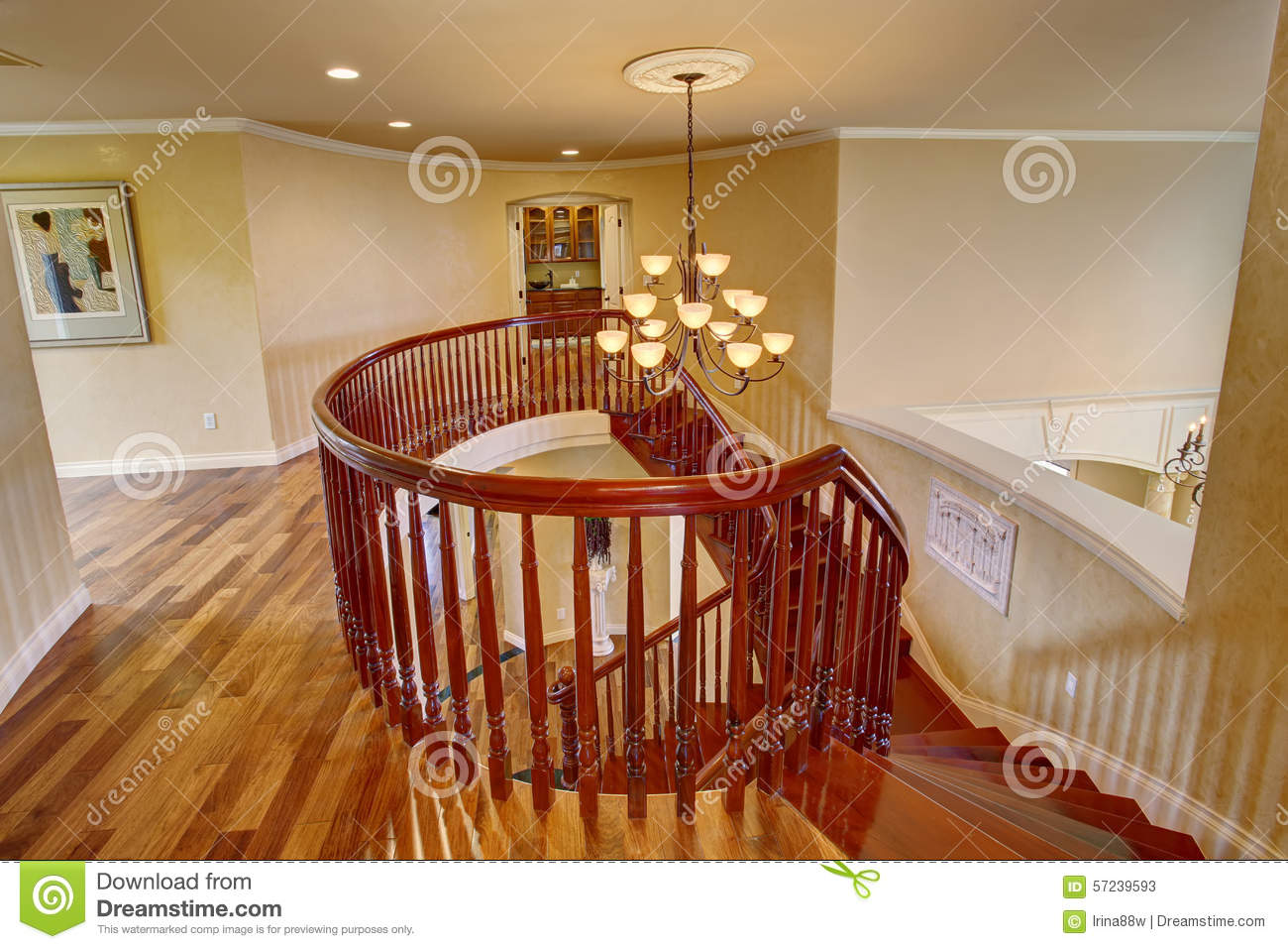 Elegant double staircase with a chandelier stock image image of royalty free stock photo arubaitofo Choice Image