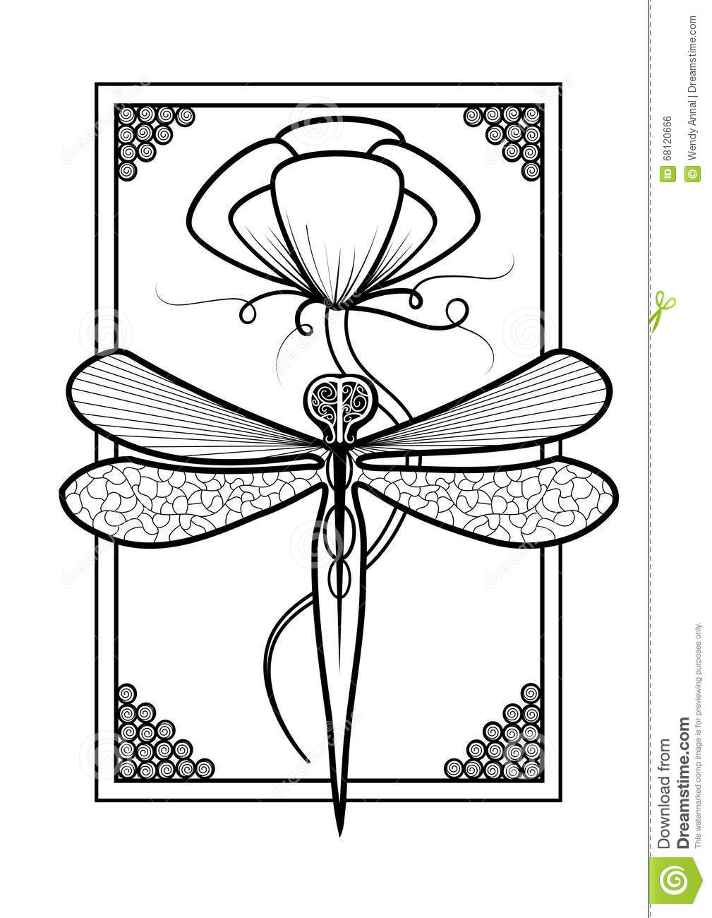 Elegant Dragonfly Adult Coloring Page Design Stock Illustration ...