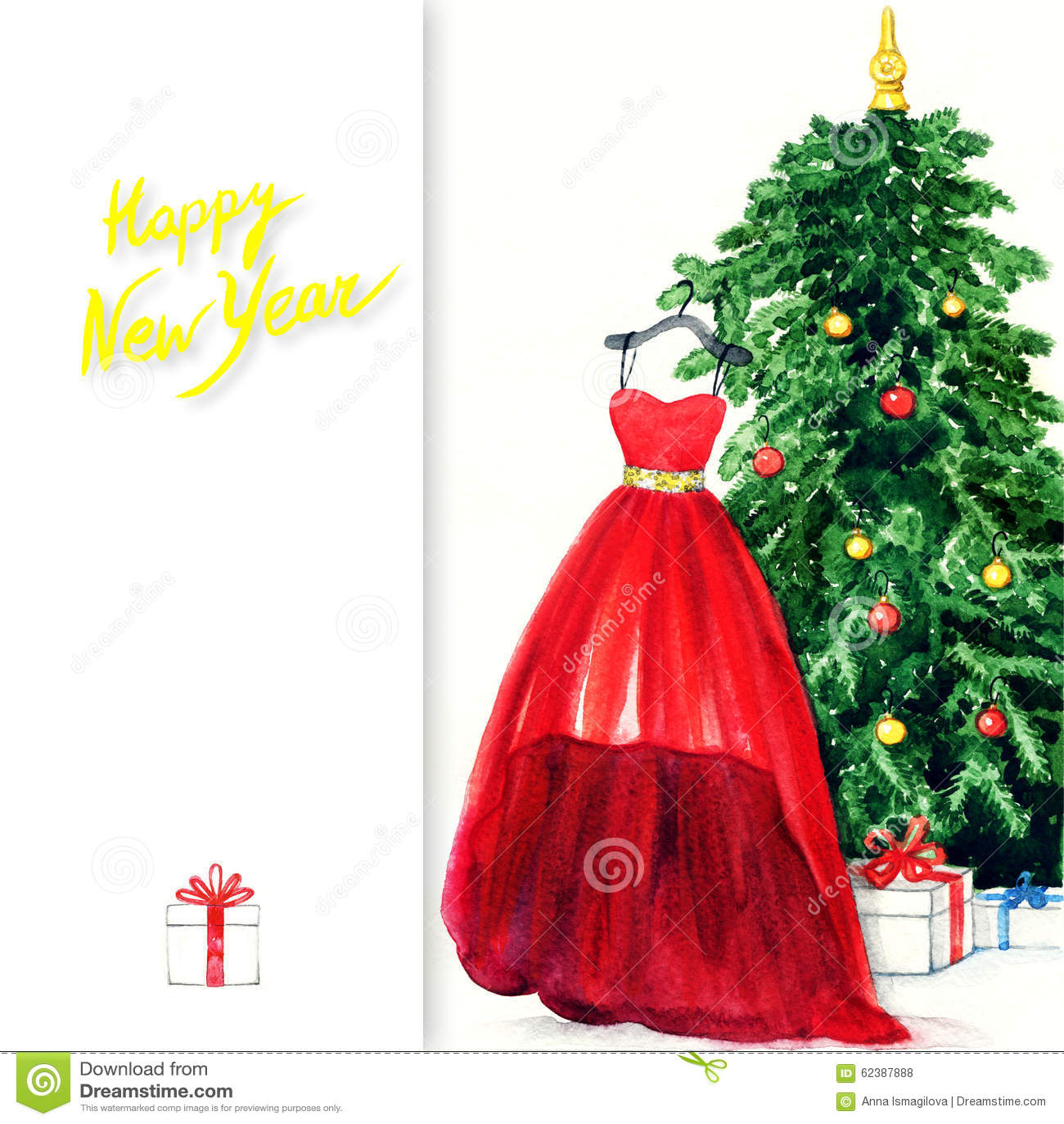 Elegant dress hanging on christmas tree watercolor illustration stock