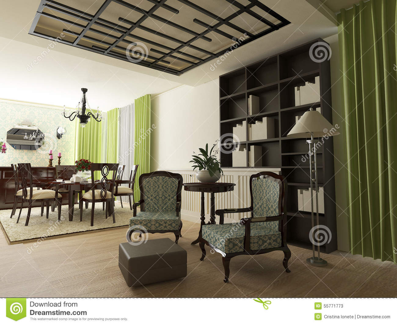 Elegant Eclectic House Interior Stock Illustration Image 55771773