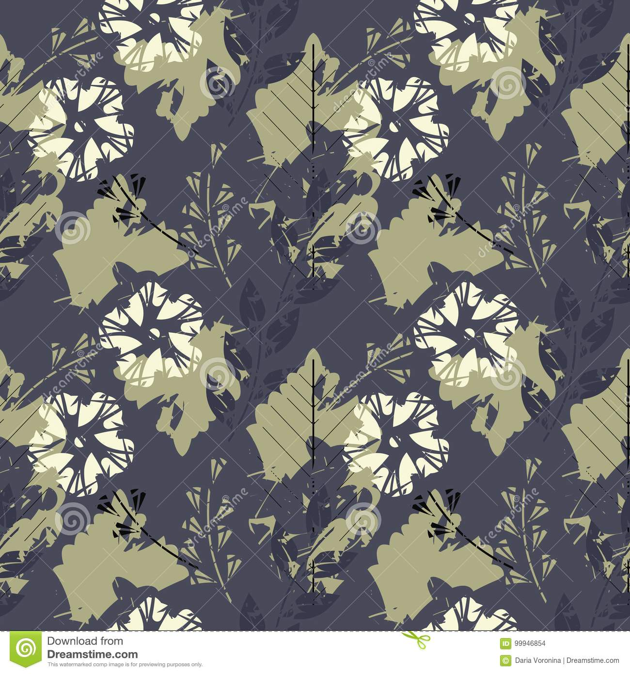 elegant endless pattern with flowers oak leaves and decorative