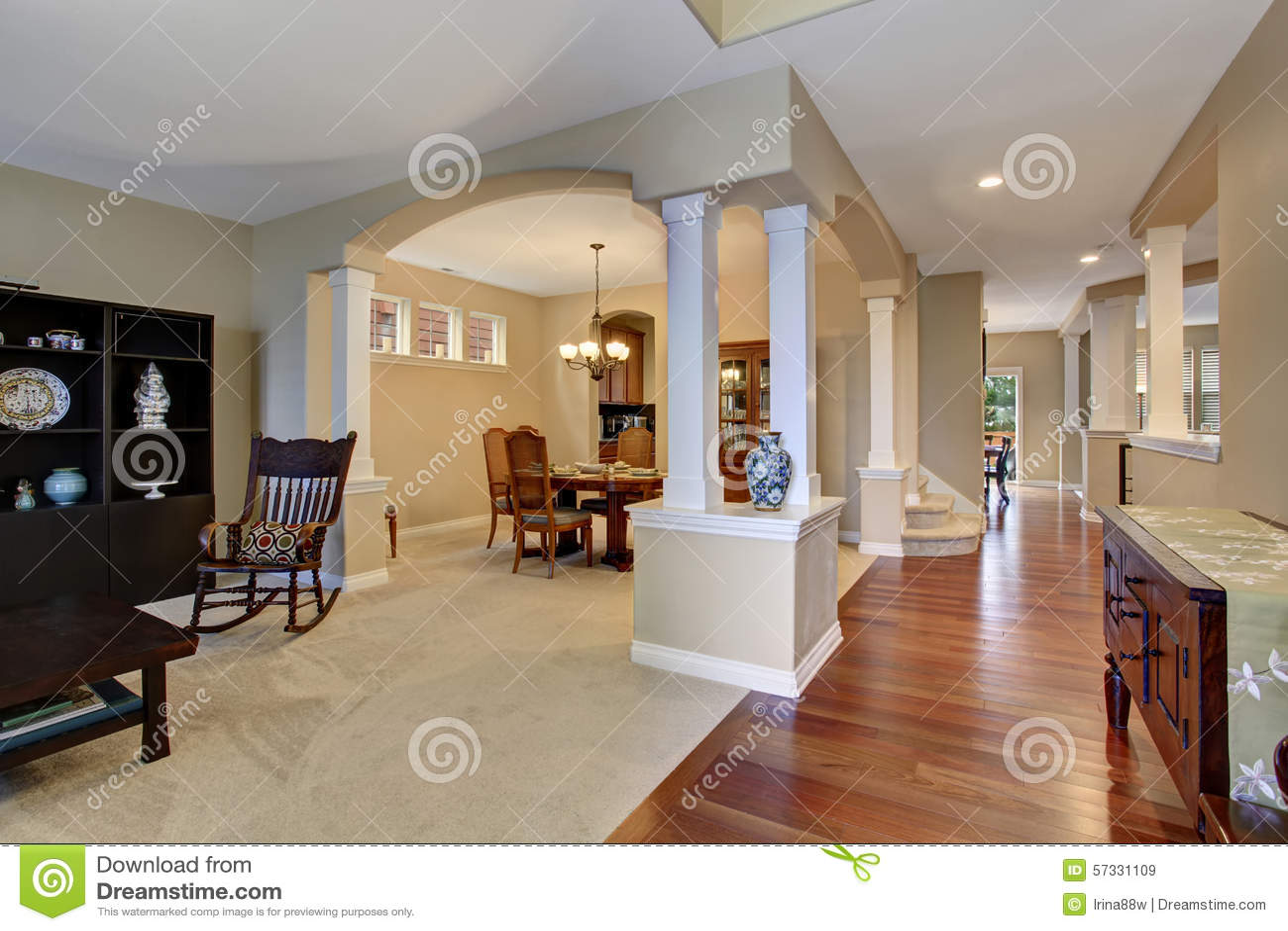 Elegant Entryway With Carpet And Hardwood Floor Stock