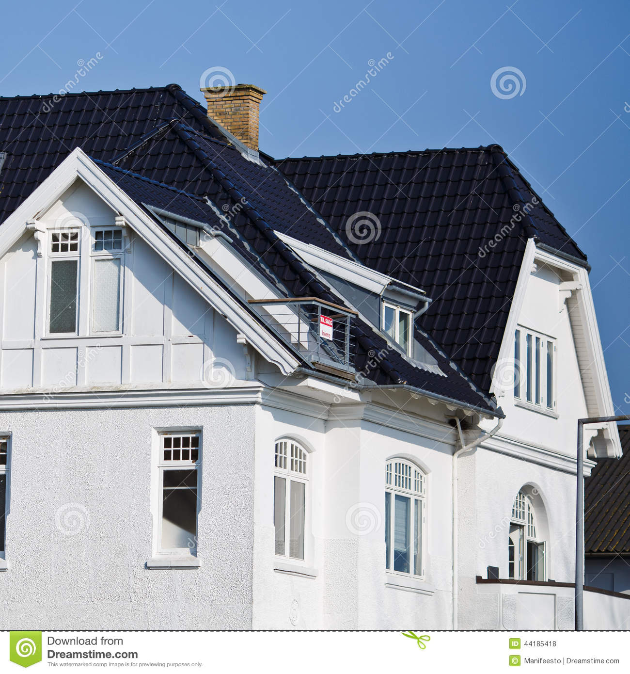 Elegant facade of a danish house stock photo image 44185418 for Black roof house