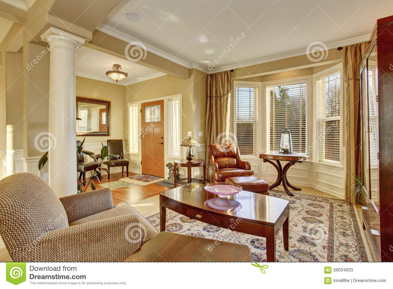 Elegant family front room with nice decor stock photo for Front room decor