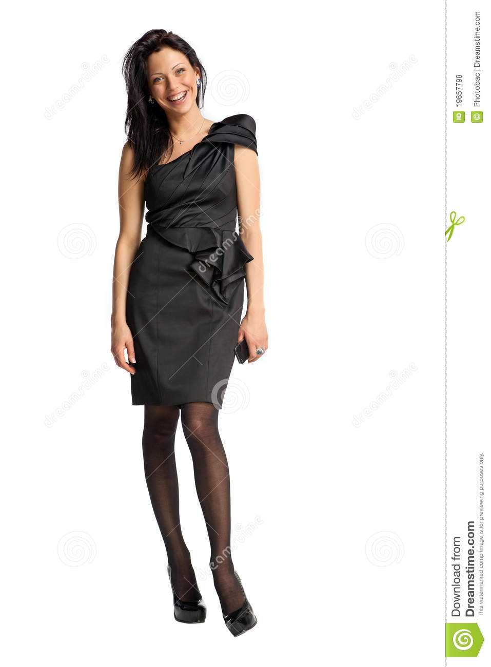 Elegant fashion model in black dress smiling stock photo - Modele dressing ...