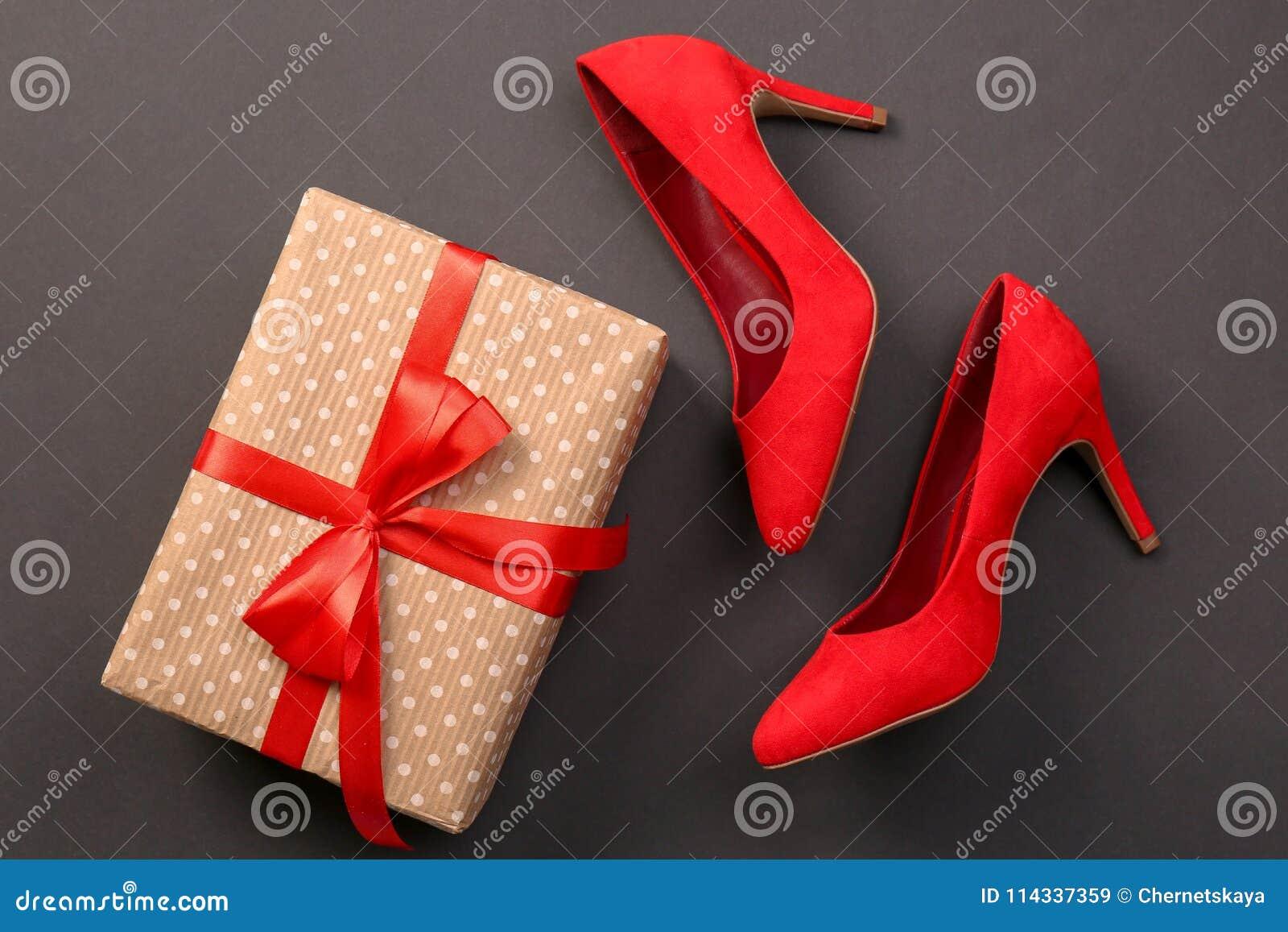 Elegant Female Shoes And Gift Box Stock Image , Image of