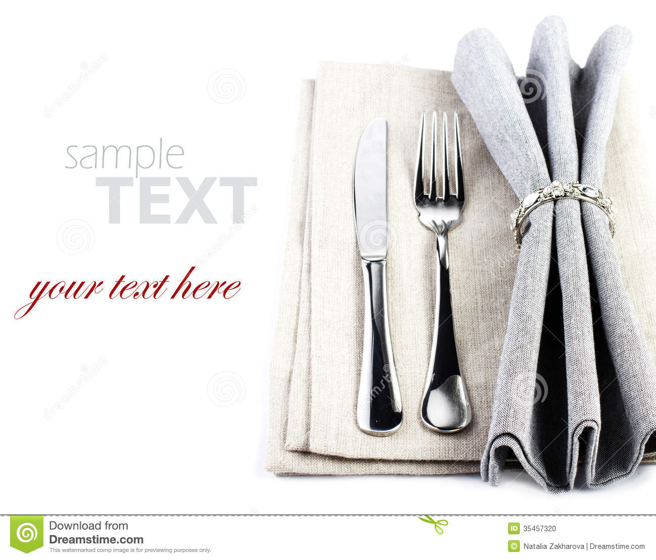 Elegant Festive Table Setting Place With Fork And Knife On