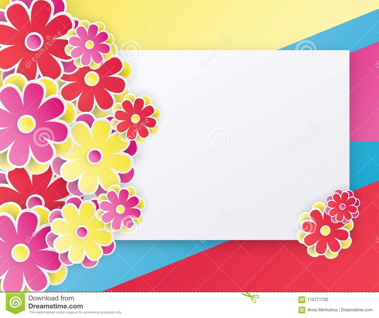 Elegant Floral Background With 3d Paper Flowers Stock Vector