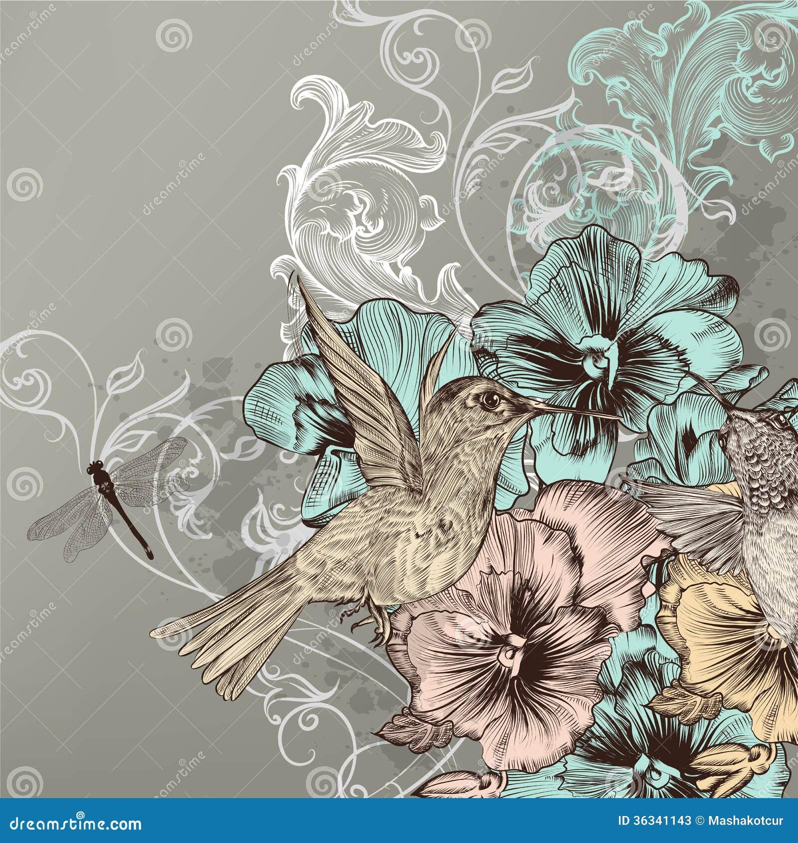 elegantfloralbackgroundflowershummingbirdscute