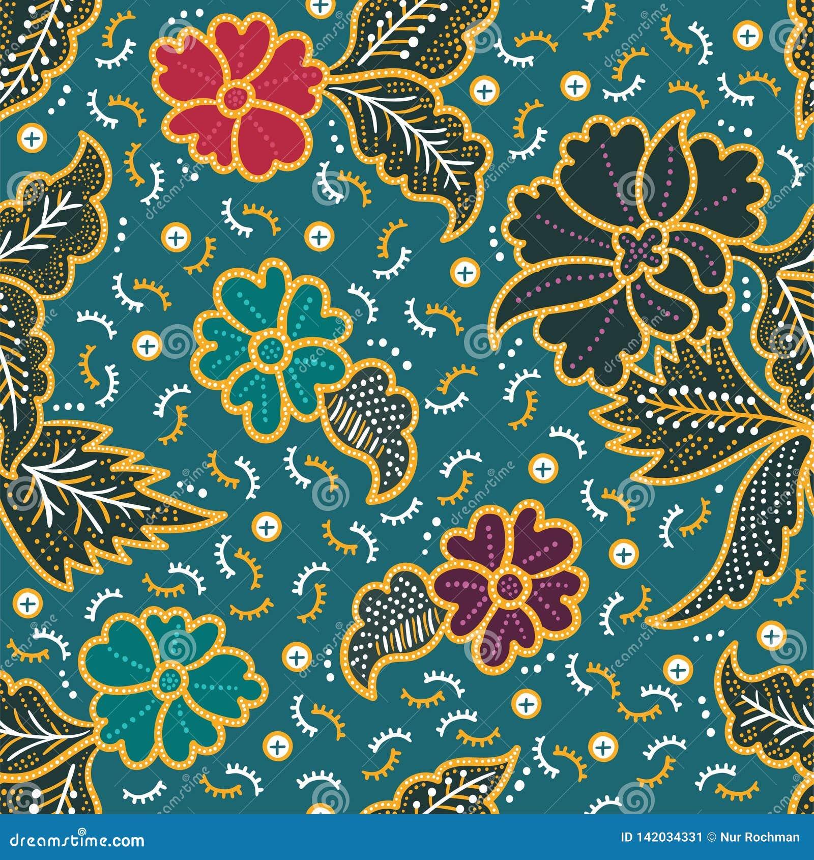 Elegant Floral Batik Seamless Pattern For Printing And