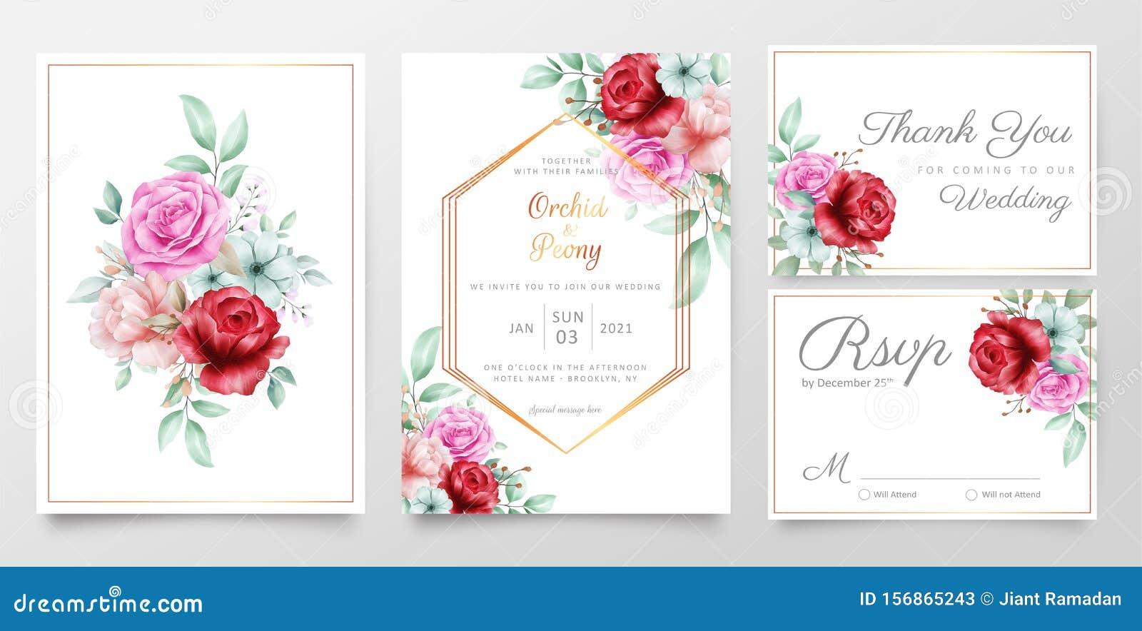 Elegant Floral Bouquet Wedding Invitation Cards Template Set
