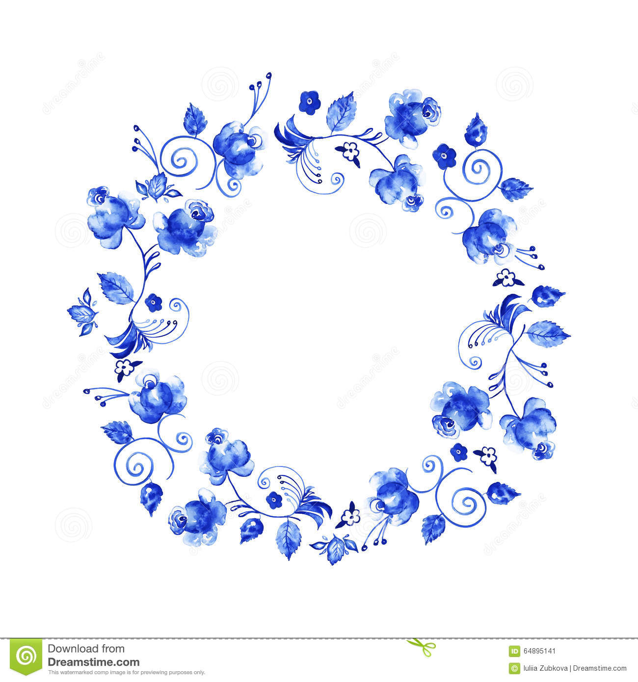 elegant floral collection with isolated blue leaves and