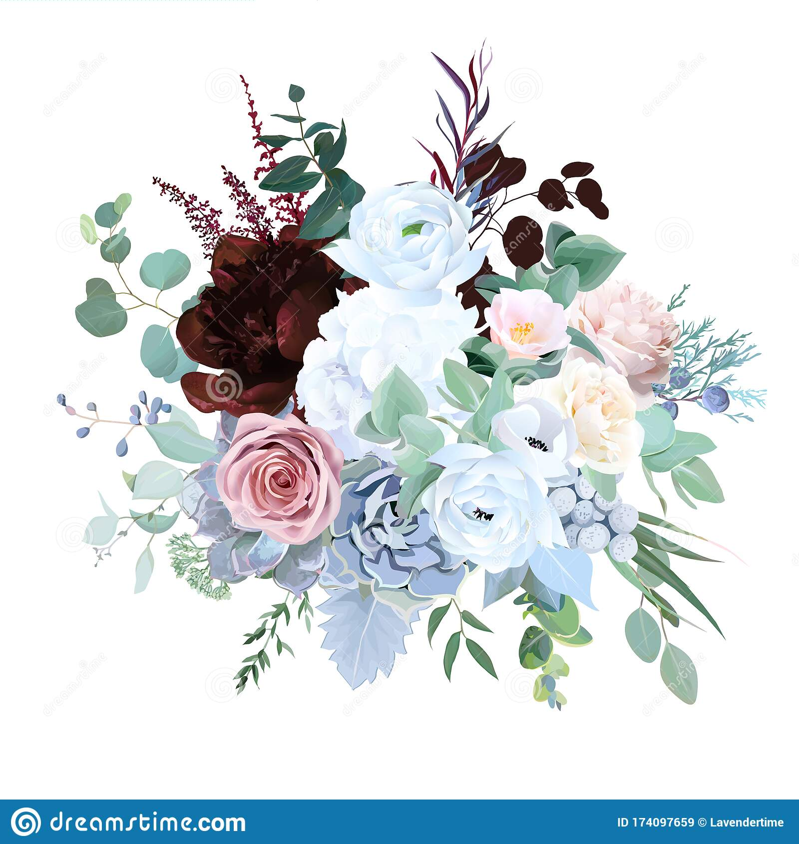 Elegant Floral Vector Bouquet With Burgundy Red Peony Stock Vector Illustration Of Blossom Dusty 174097659