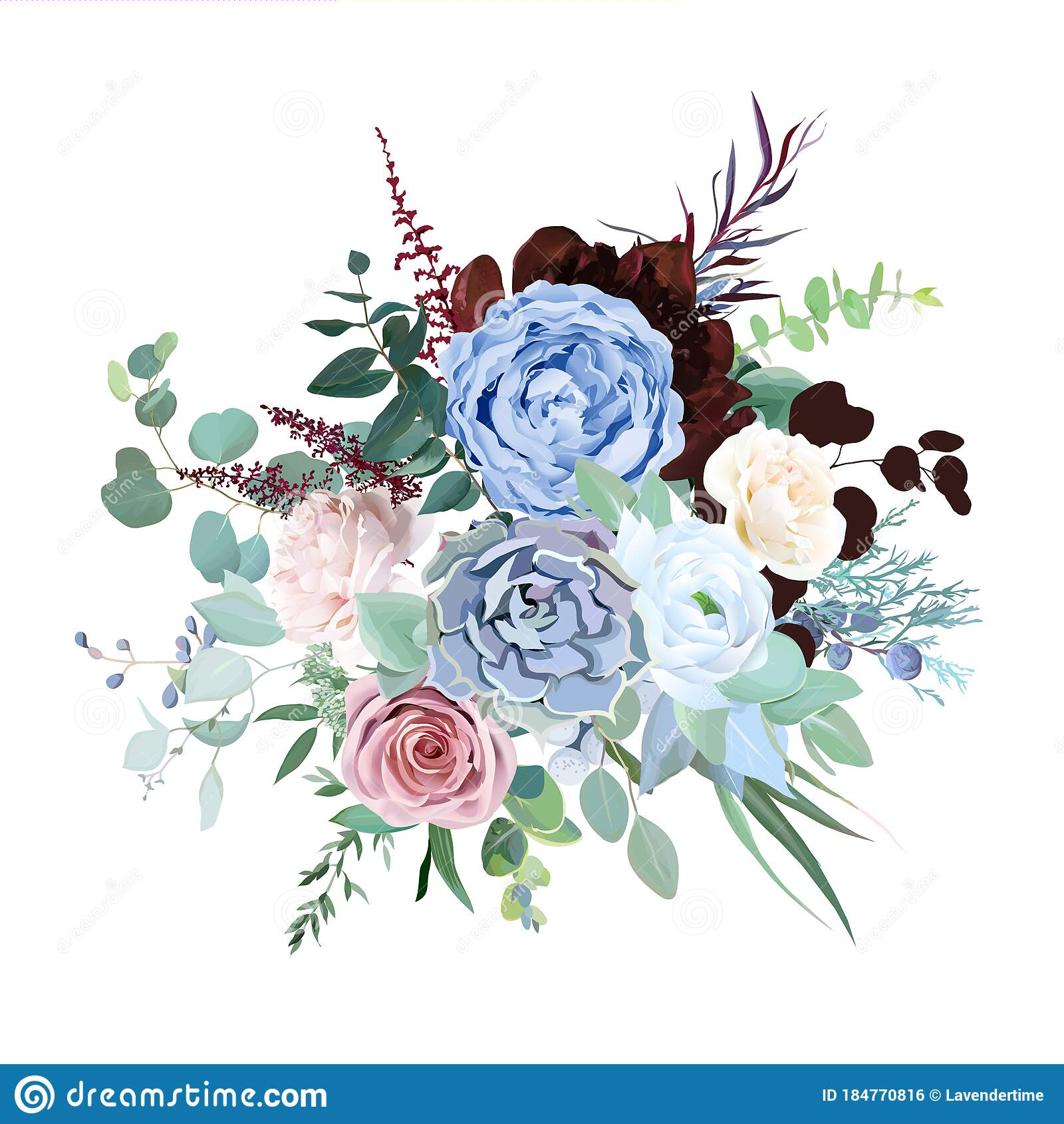 Elegant Floral Vector Bouquet With Burgundy Red Peony Stock Vector Illustration Of Floral Luxury 184770816