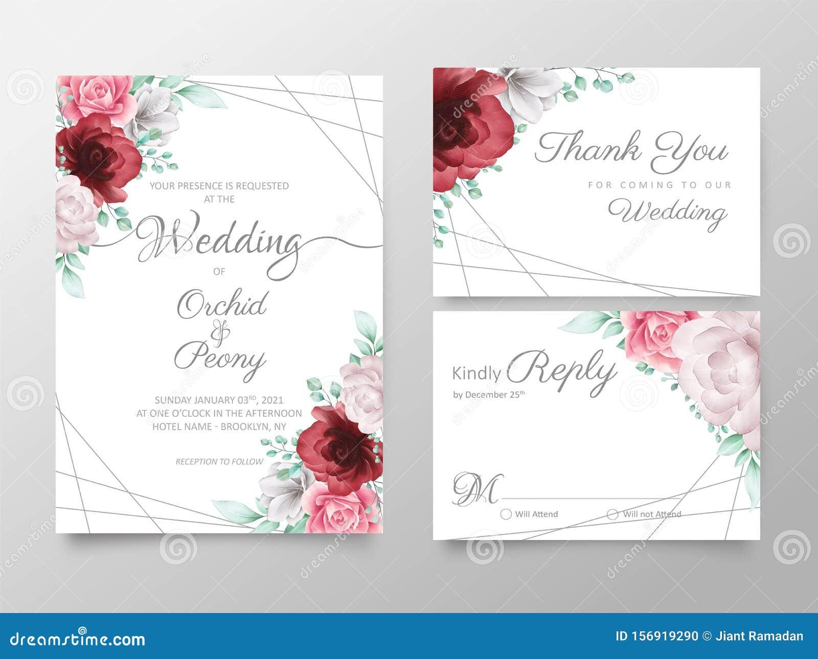 elegant floral wedding invitation cards template set with