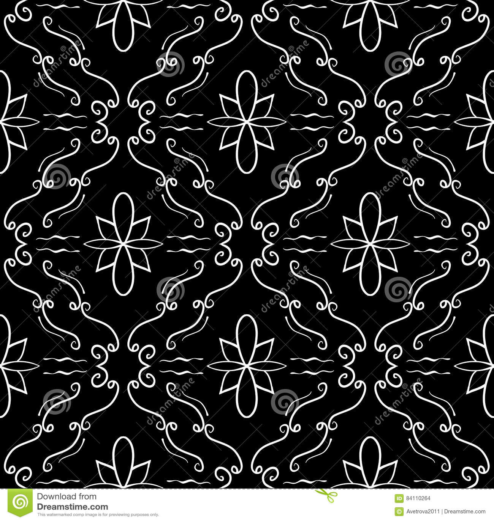 elegant flourish seamless pattern white curved lines on black