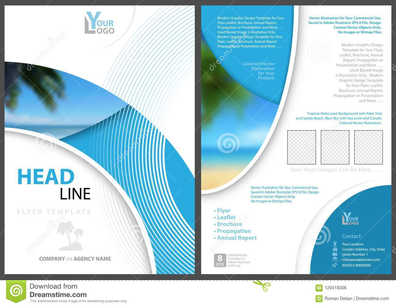 Elegant Flyer Template With Geometric Shapes Stock Vector