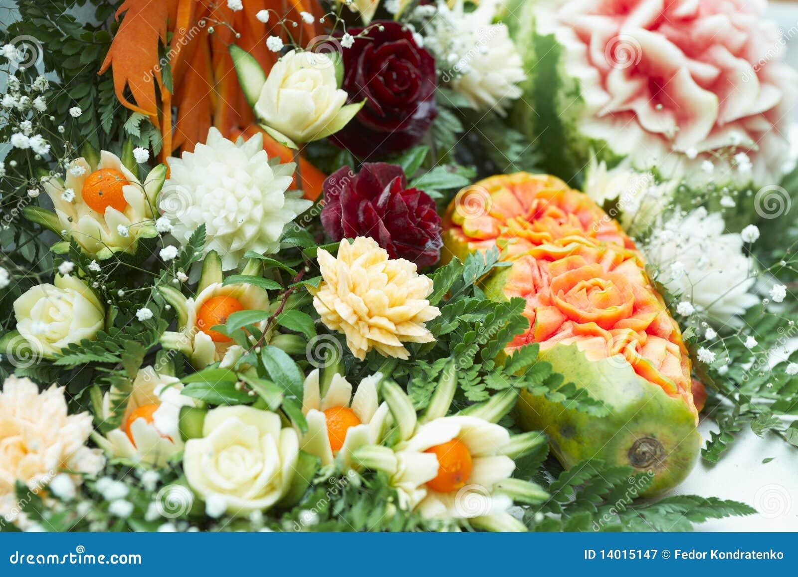 Elegant food carving stock image of flora petal