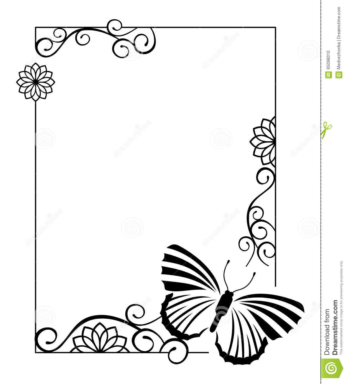 Elegant Frame With Butterfly Stock Illustration - Illustration of ...