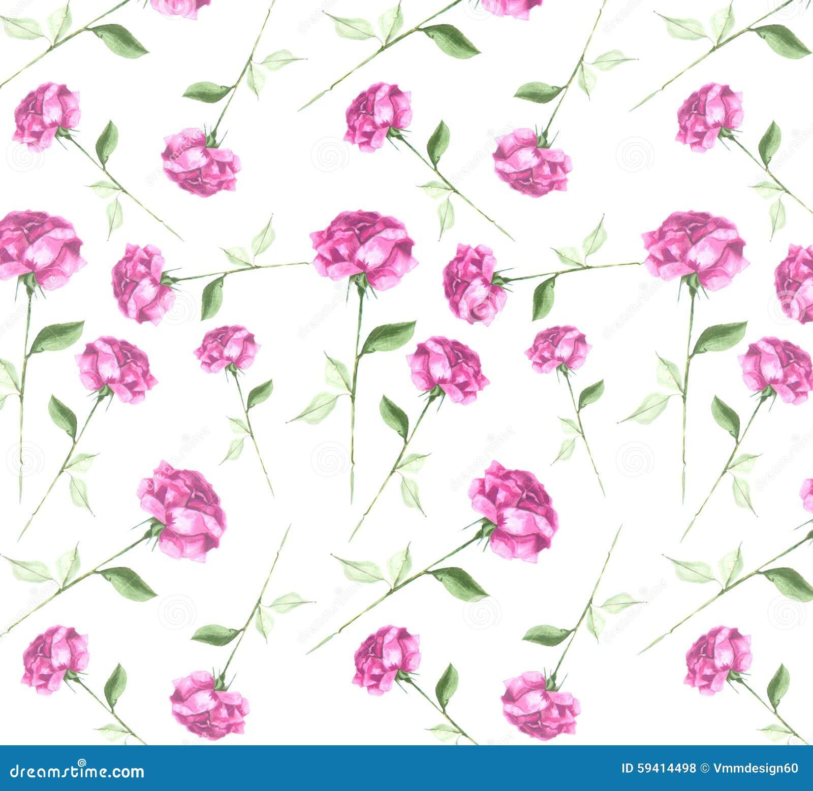 Elegant Fresh Watercolor Abstract Rose Flower Art Seamless Wallpaper
